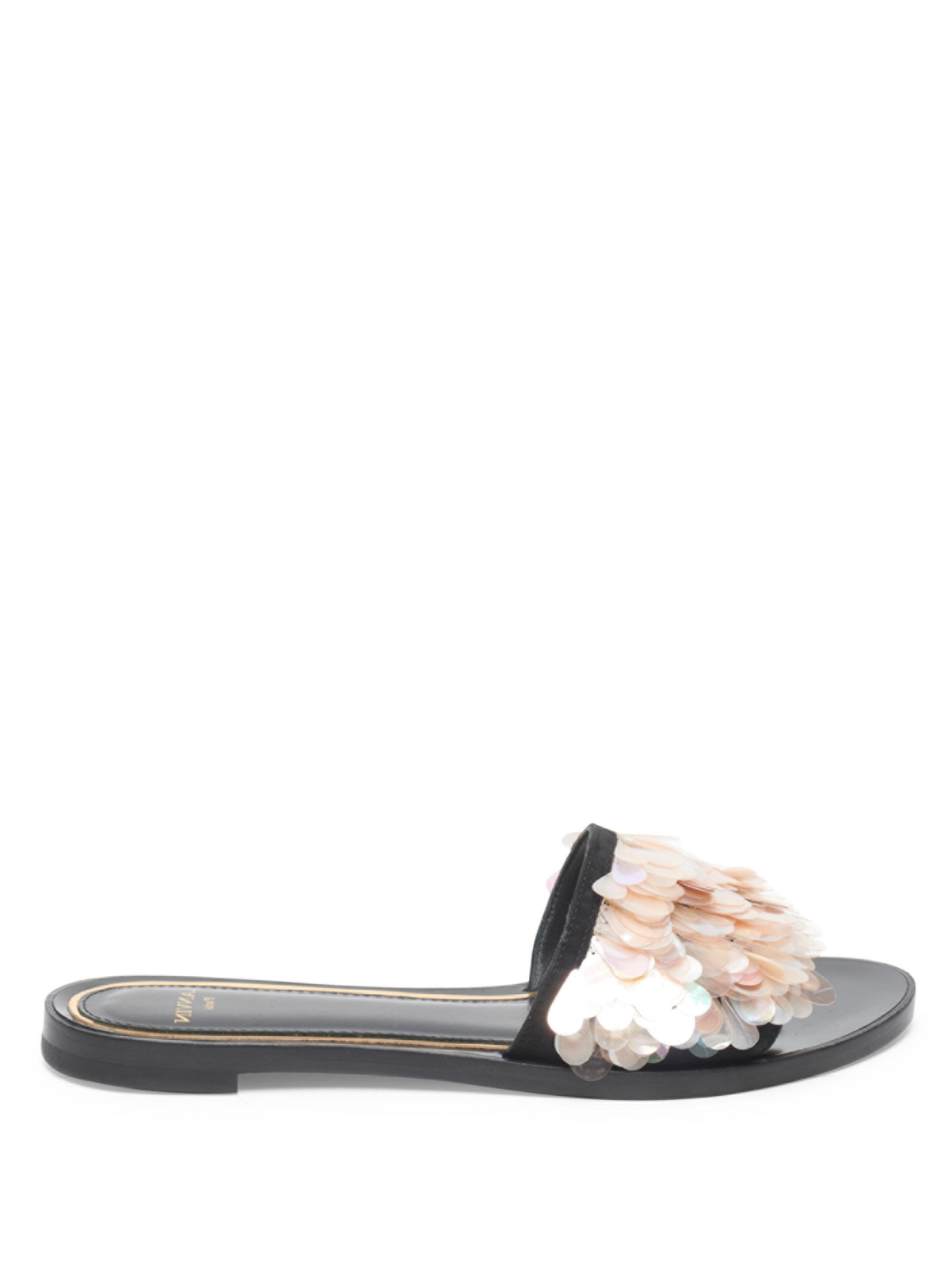 Lanvin - Multicolor Pailette Leather Slide Sandals - Lyst. View Fullscreen