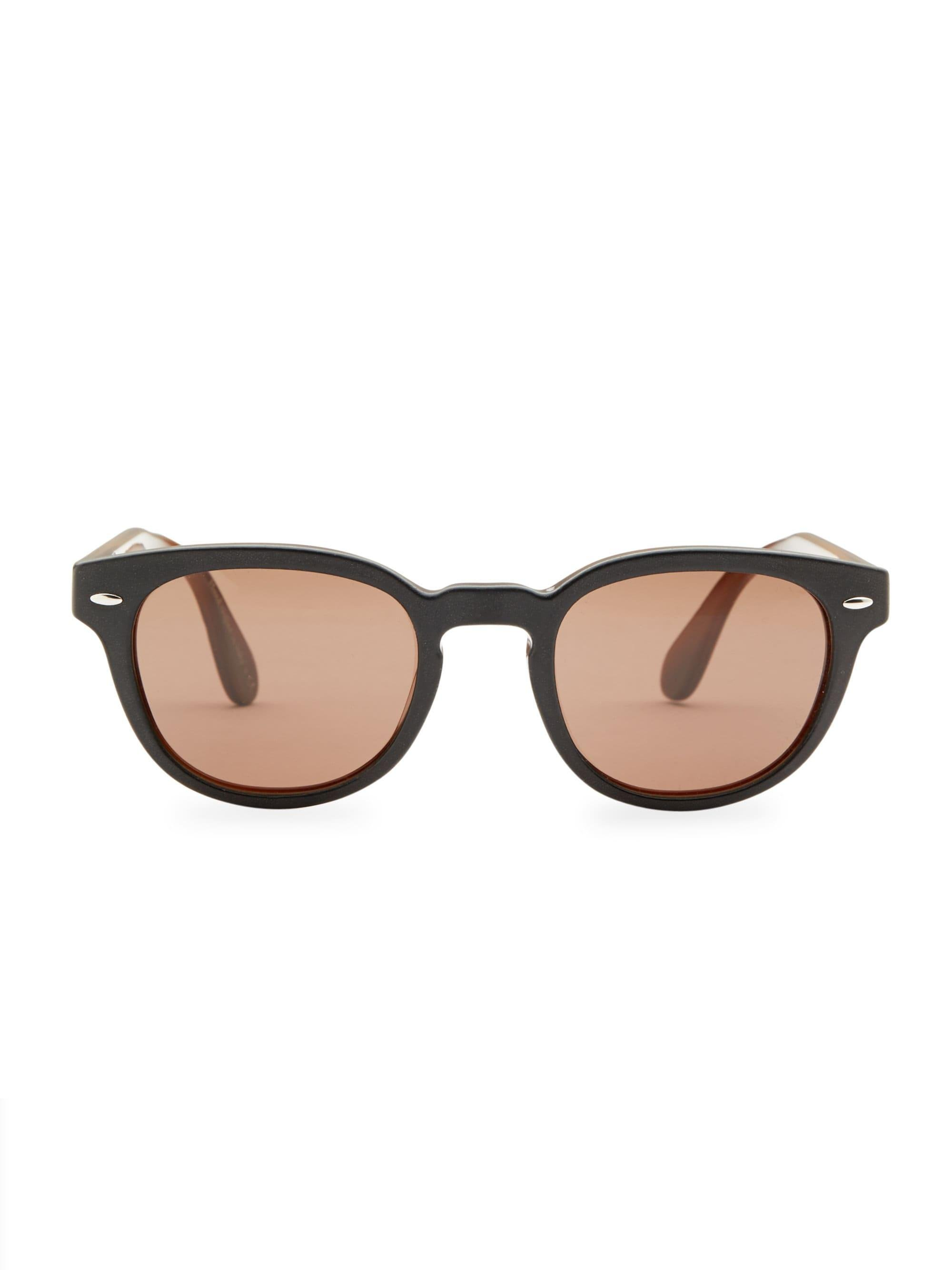 7b2b8231781 Oliver Peoples Sheldrake Leather 47mm Sunglasses in Brown for Men - Lyst