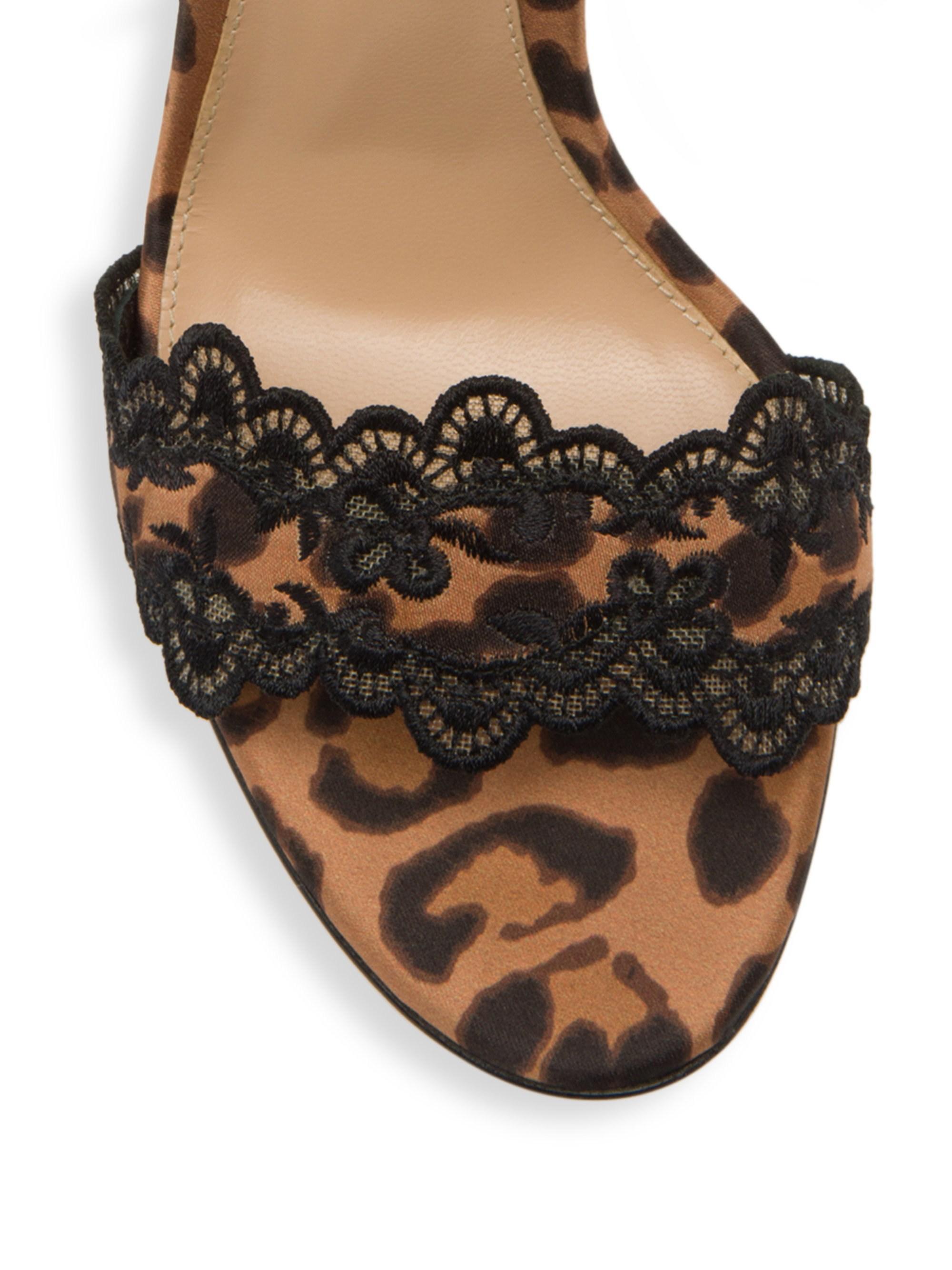 74d83c842068 Gianvito Rossi - Black 105mm Leopard Print Satin Sandals - Lyst. View  fullscreen