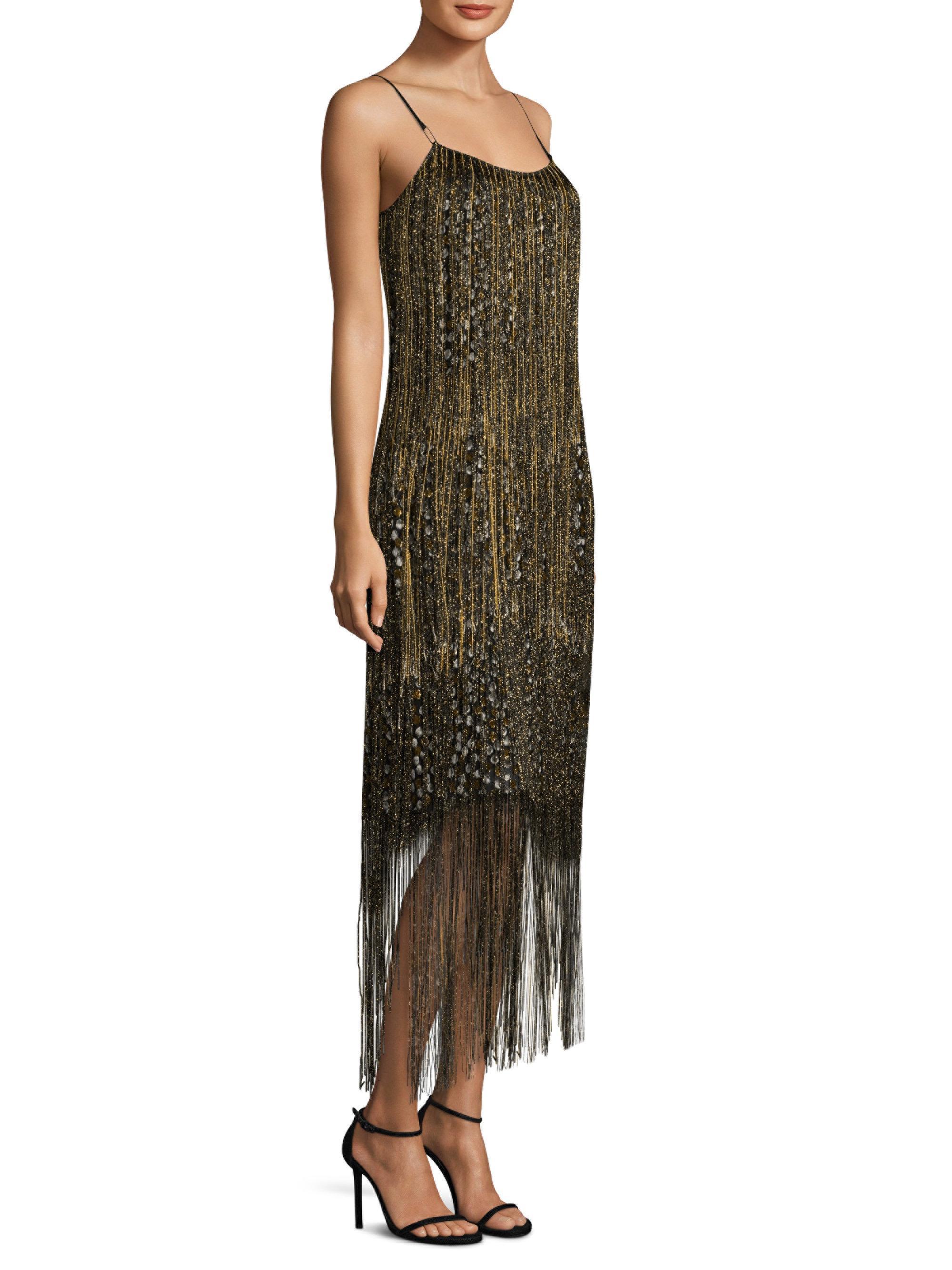 Elie Tahari Woman Pacey Fringed Metallic Flocked Chiffon Midi Dress Gold Size 4 Elie Tahari 3NqDlJMm