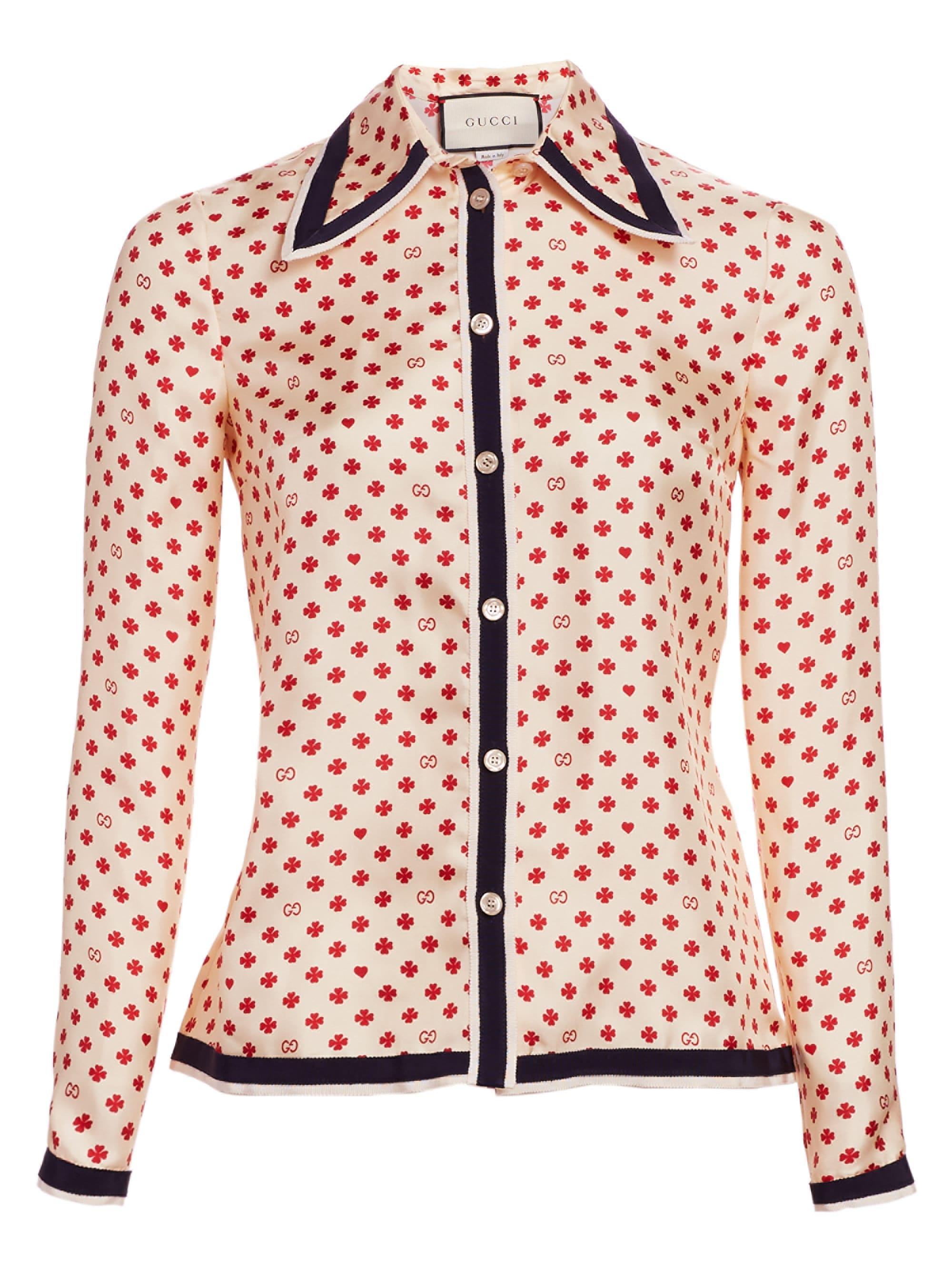 adb535b7f Lyst - Gucci Silk Twill Button-front Blouse