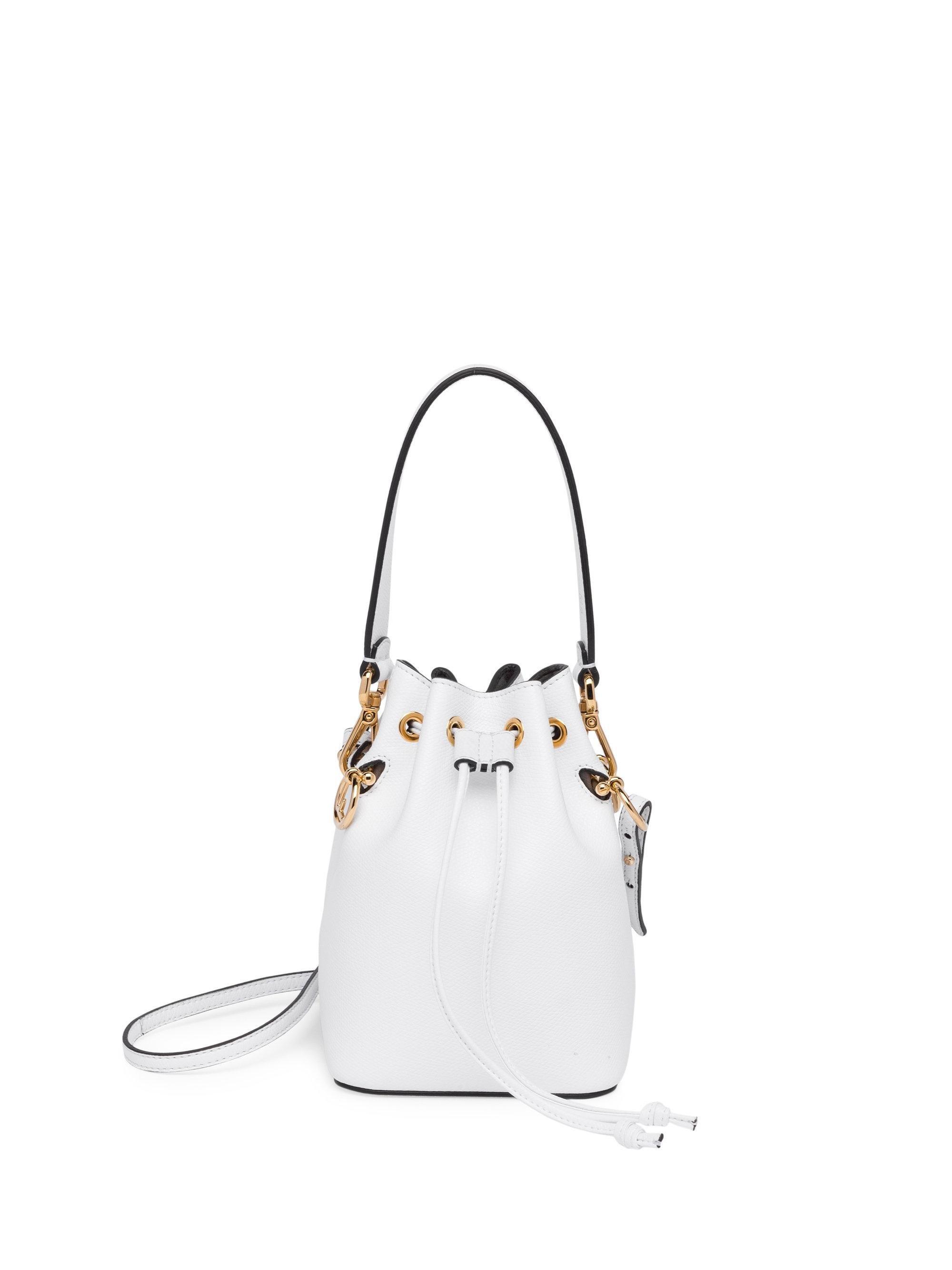 Fendi Mon Tresor Leather Bucket Bag in White - Save 10% - Lyst