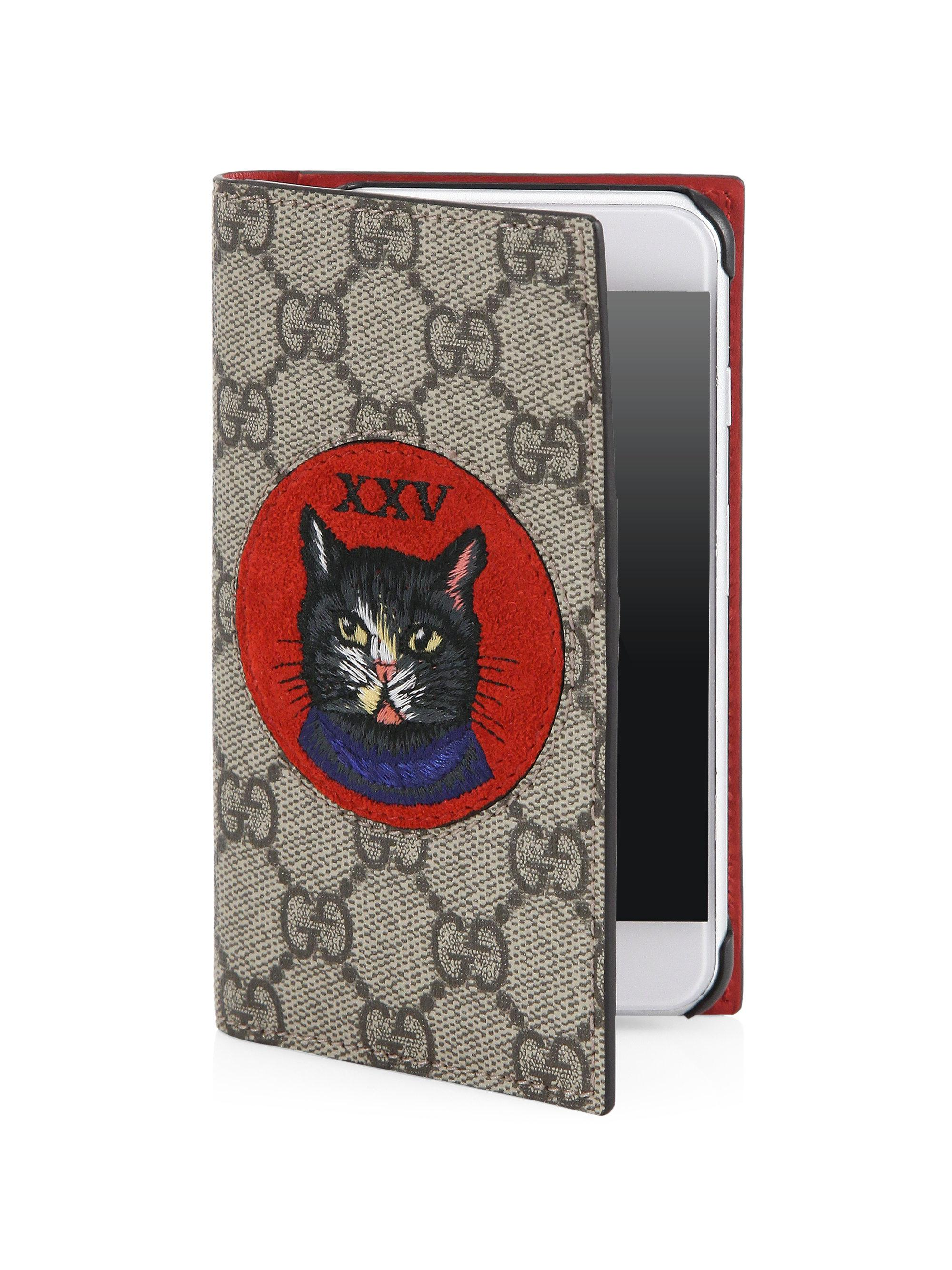 3e6acd8d1f9 Gucci Embroidered Mystic Cat And Xxv Suede Patch Iphone 7 Cover - Lyst