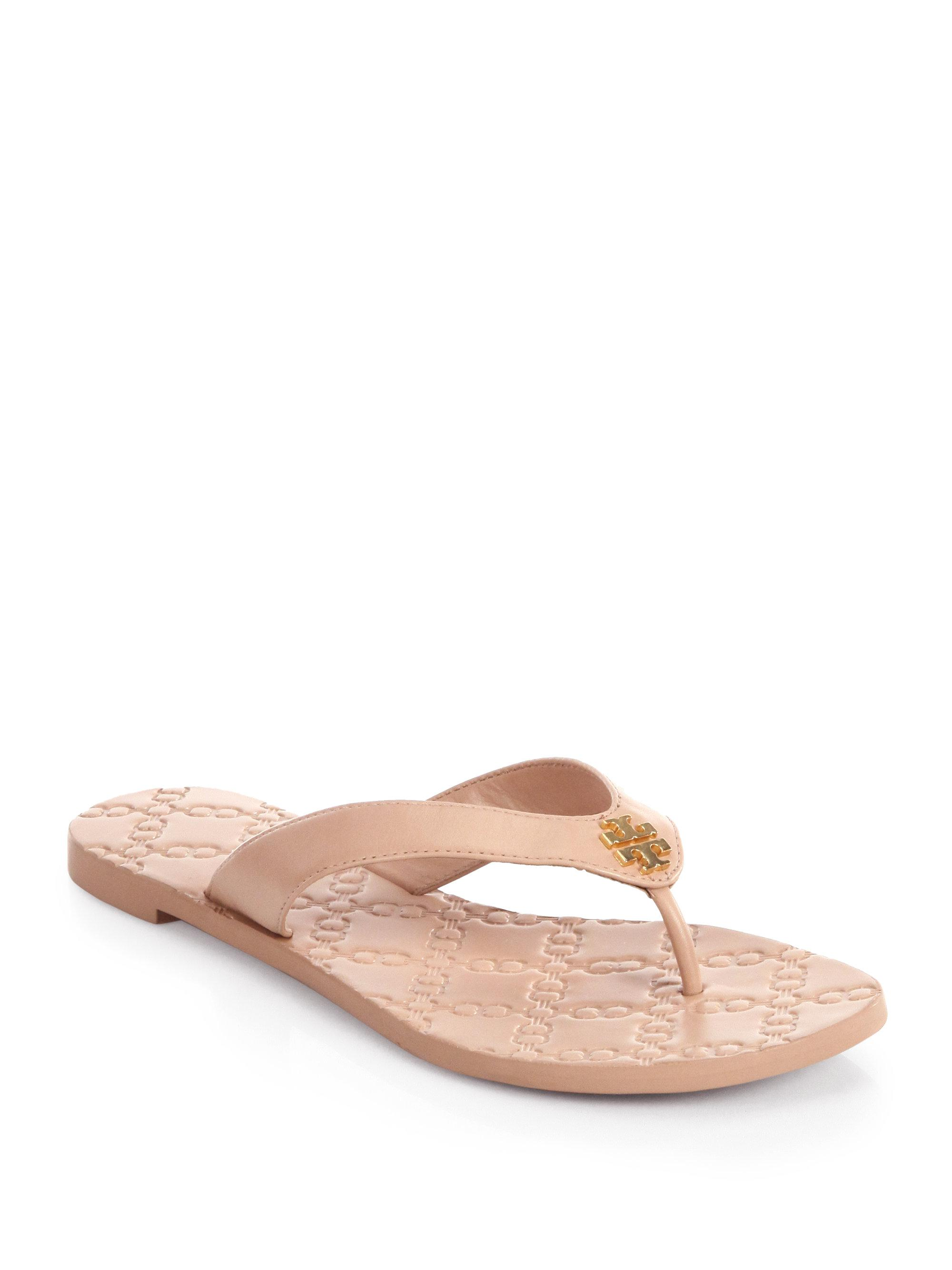23f5ee6c4c5900 Lyst - Tory Burch Monroe Leather Thong Sandals