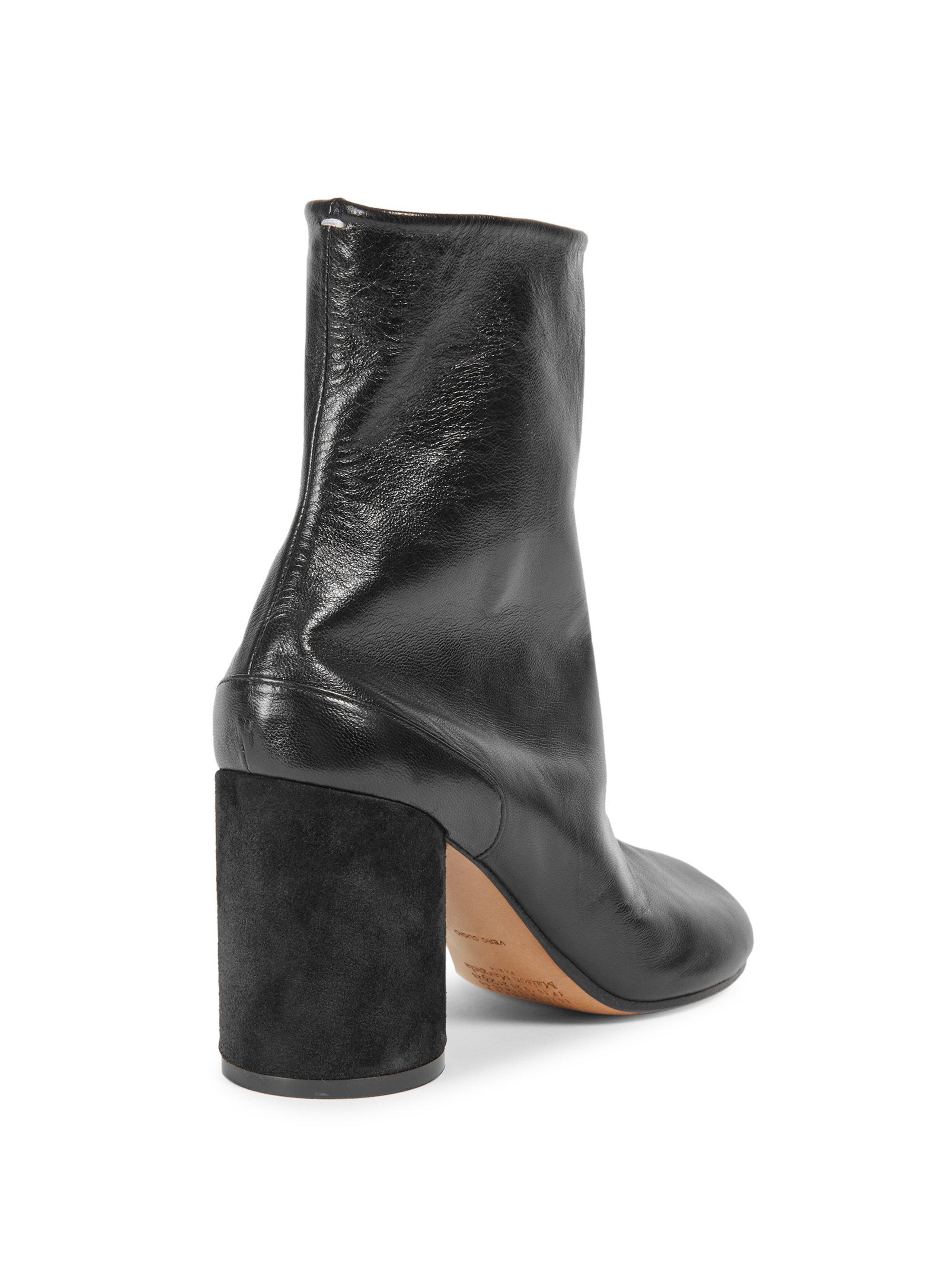Maison Margiela - Black Leather Fold Over Mid Calf Boots - Lyst. View  fullscreen