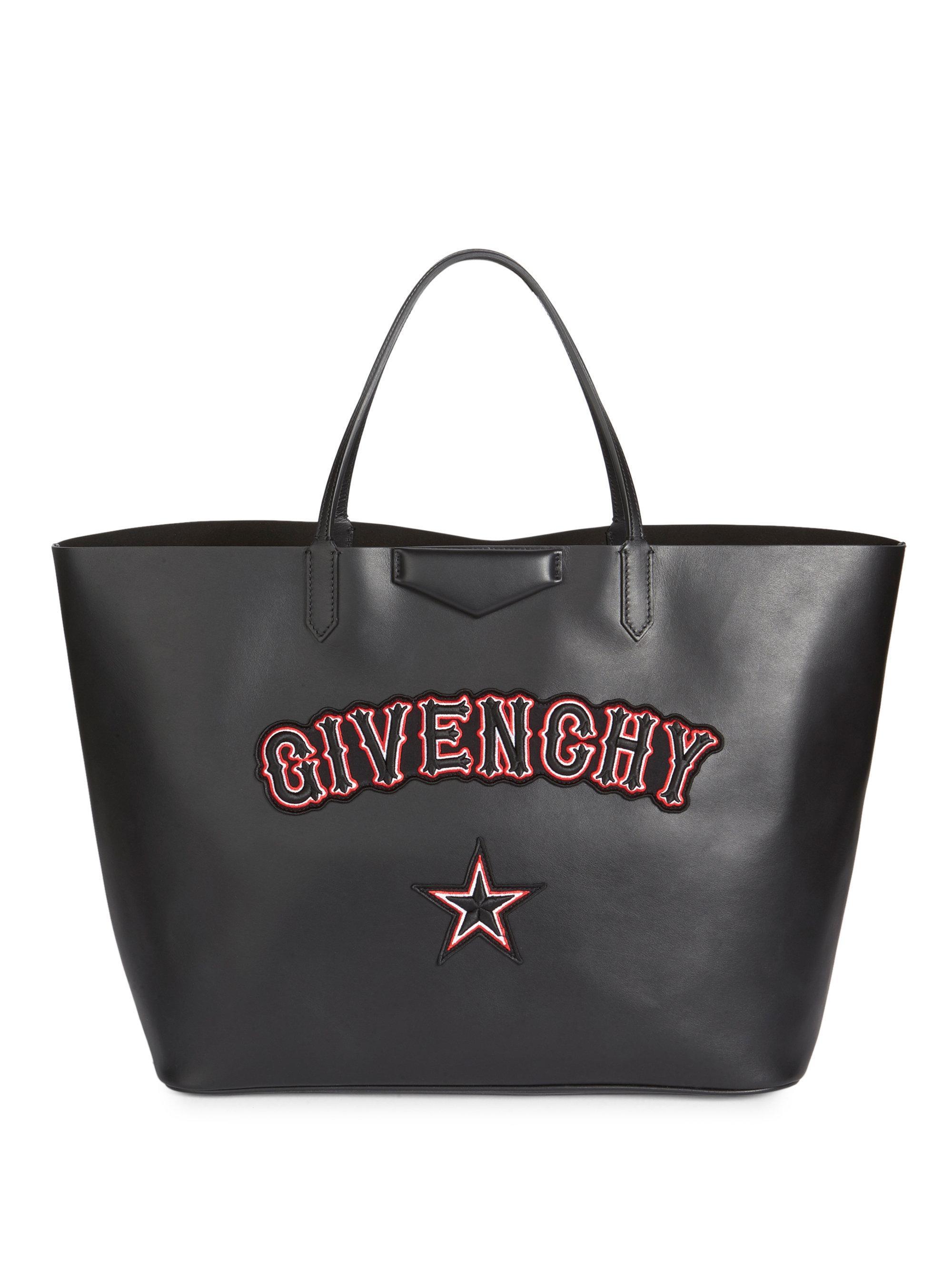 Lyst - Givenchy Antigona Large Gothic Logo Shopper in Black a04f40e988462
