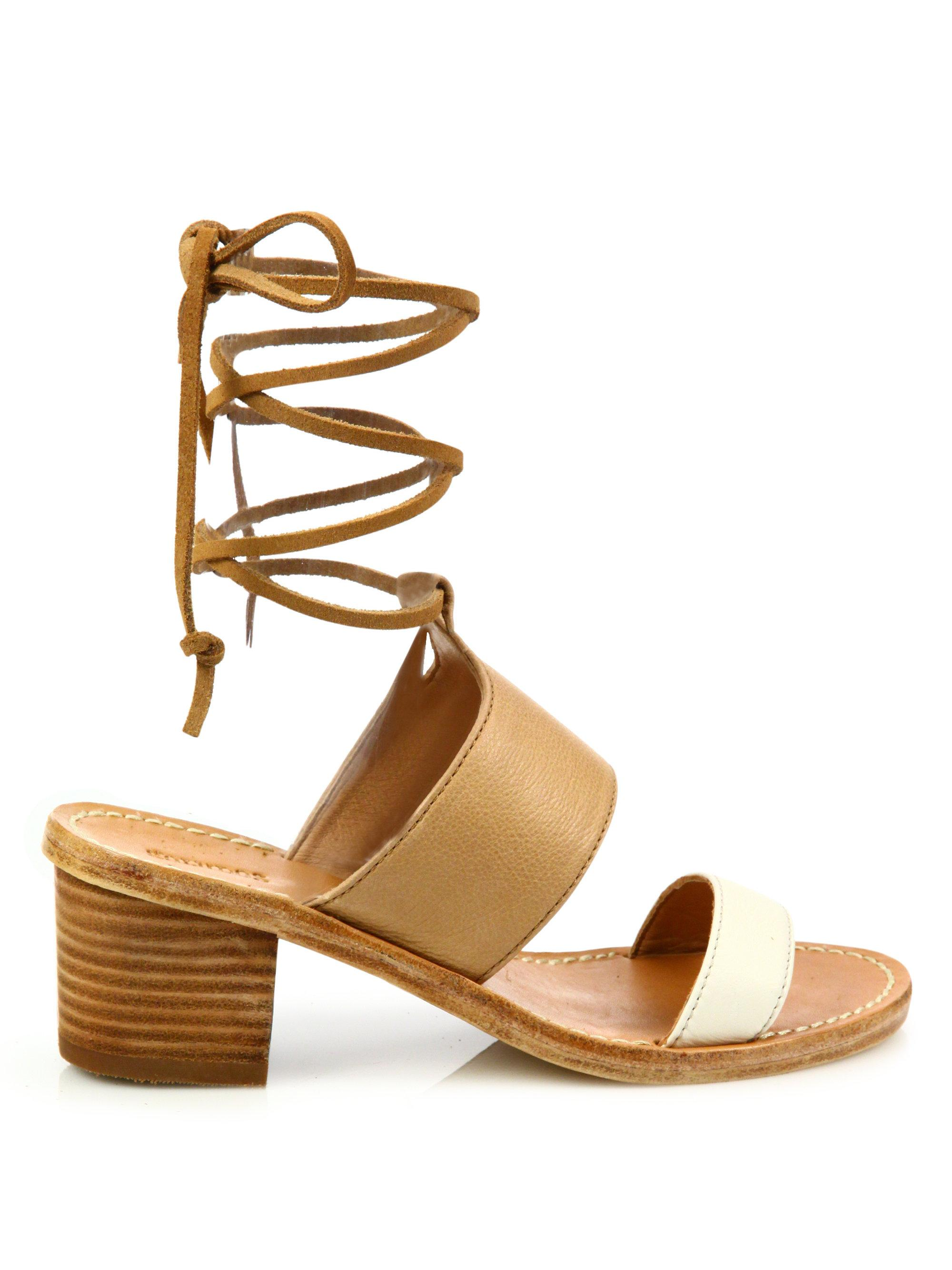 Soludos - Multicolor Colorblock Leather Ankle-wrap Sandals - Lyst. View  fullscreen