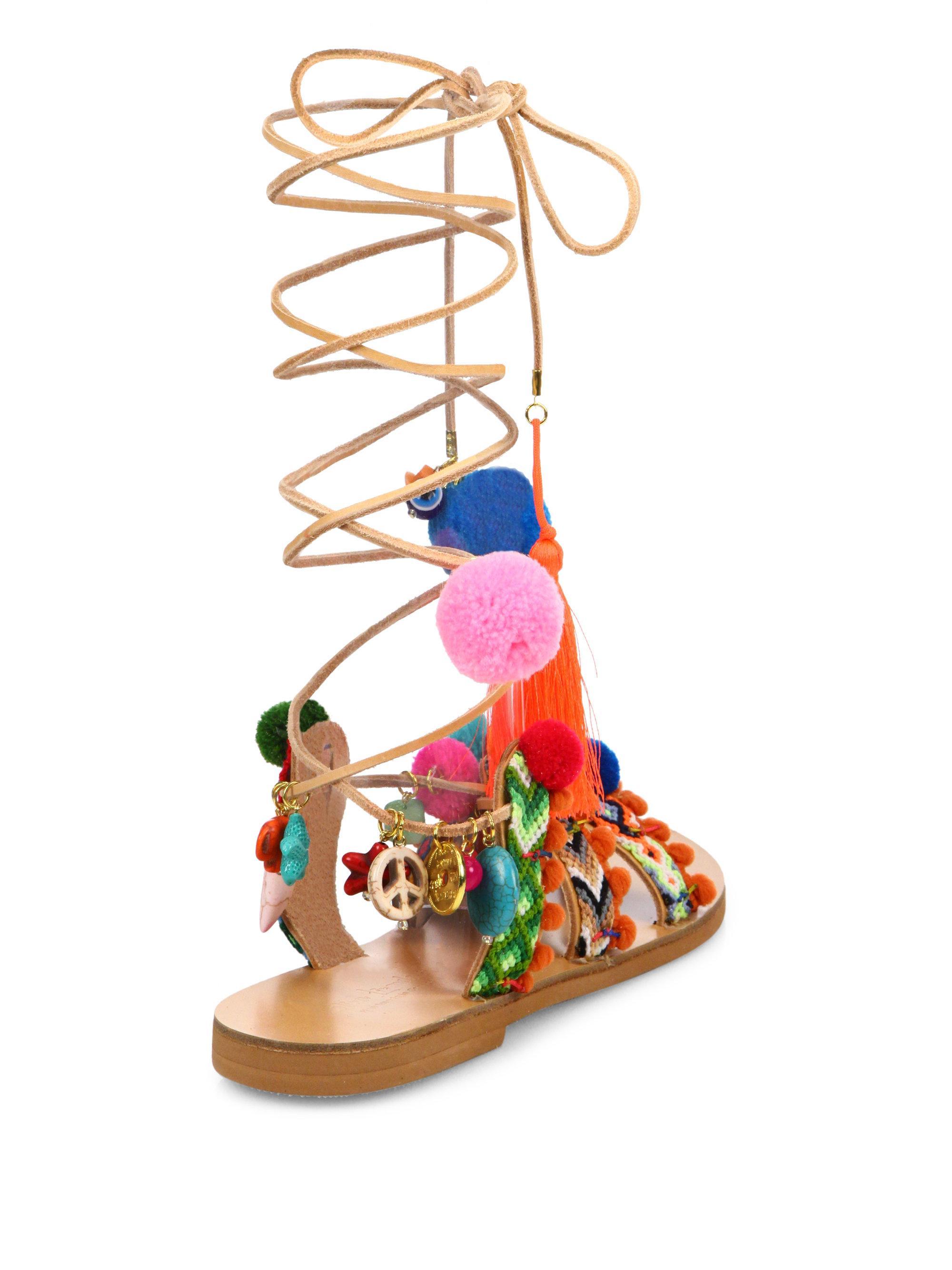Elina Linardaki Embroidered Lace-Up Sandals explore cheap online QktDc6r15K