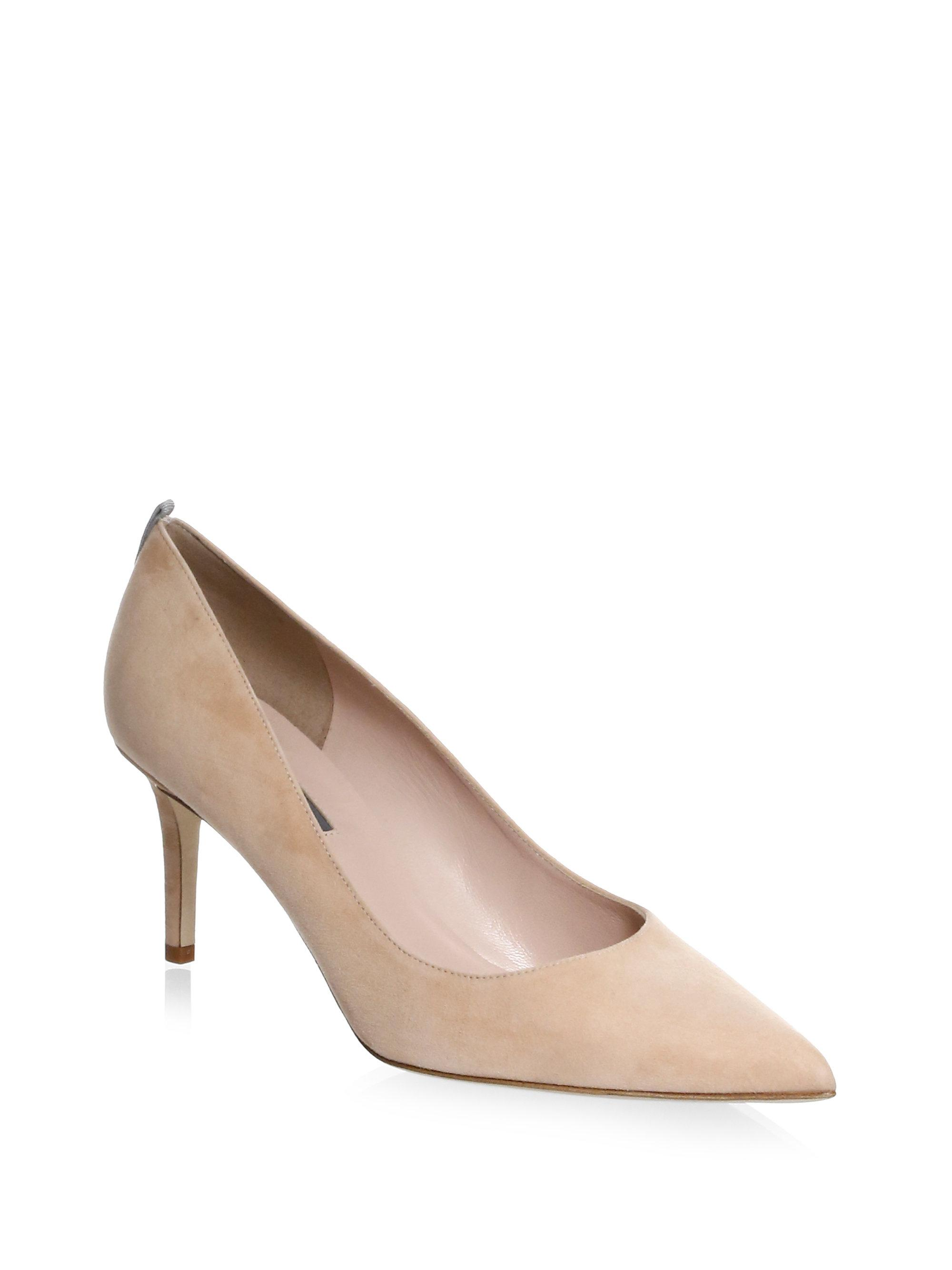 SJP by Sarah Jessica Parker. Women's Natural Fawn Point Toe Suede Pumps