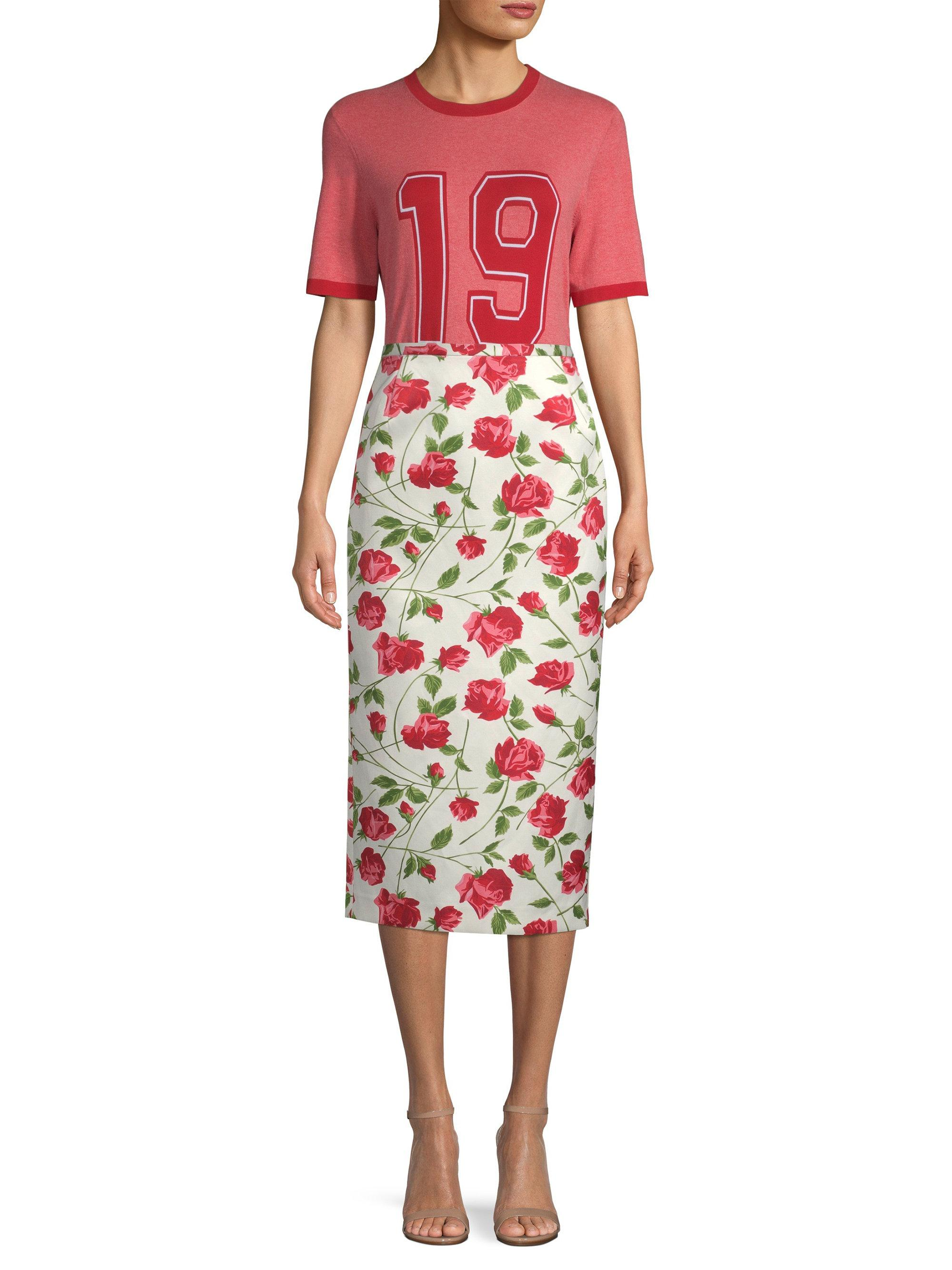 96fa6d8a53af6 Michael Kors - Multicolor Rose Print Pencil Skirt - Lyst. View fullscreen
