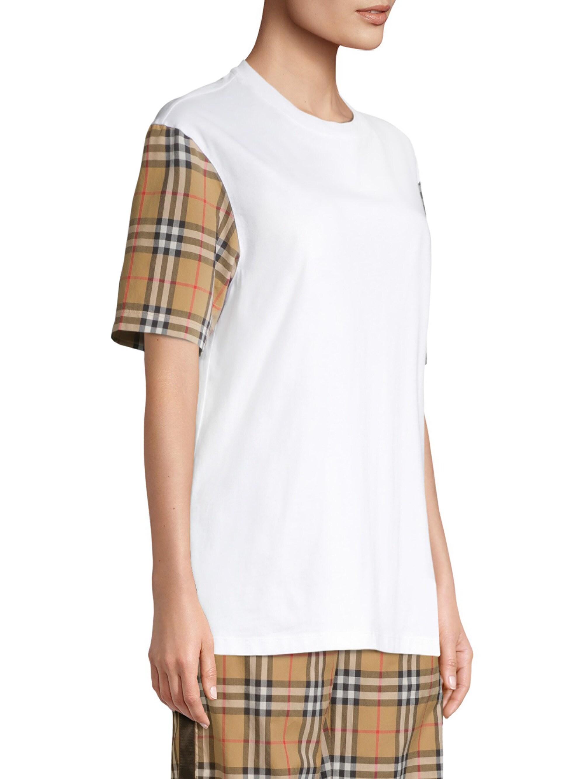 fddf07bee4 Lyst - Burberry Vintage Check Sleeve Cotton T-shirt in White - Save 30%