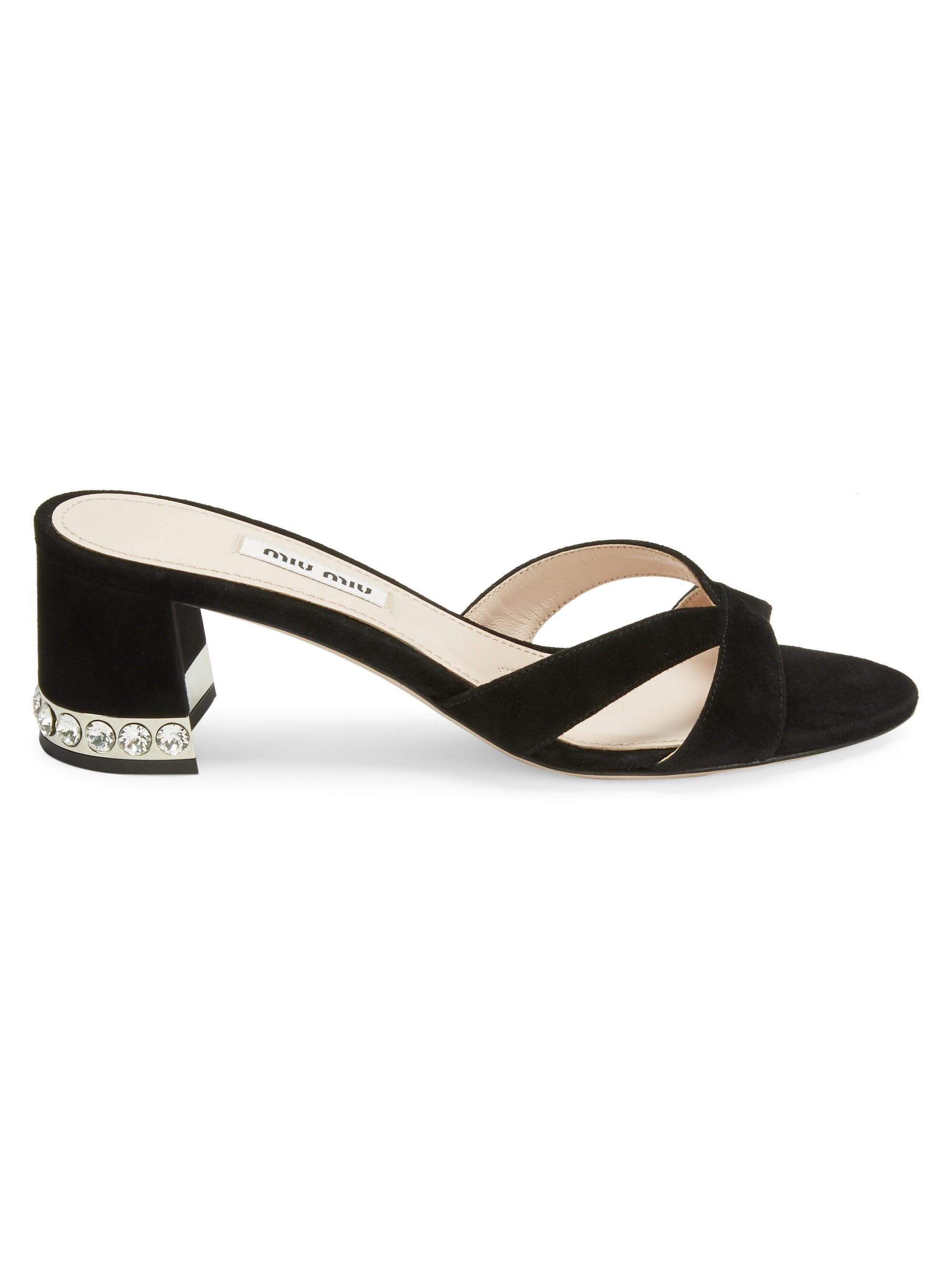 b837622bee Miu Miu Women's Crystal Block Heel Sandals - Black in Black - Lyst