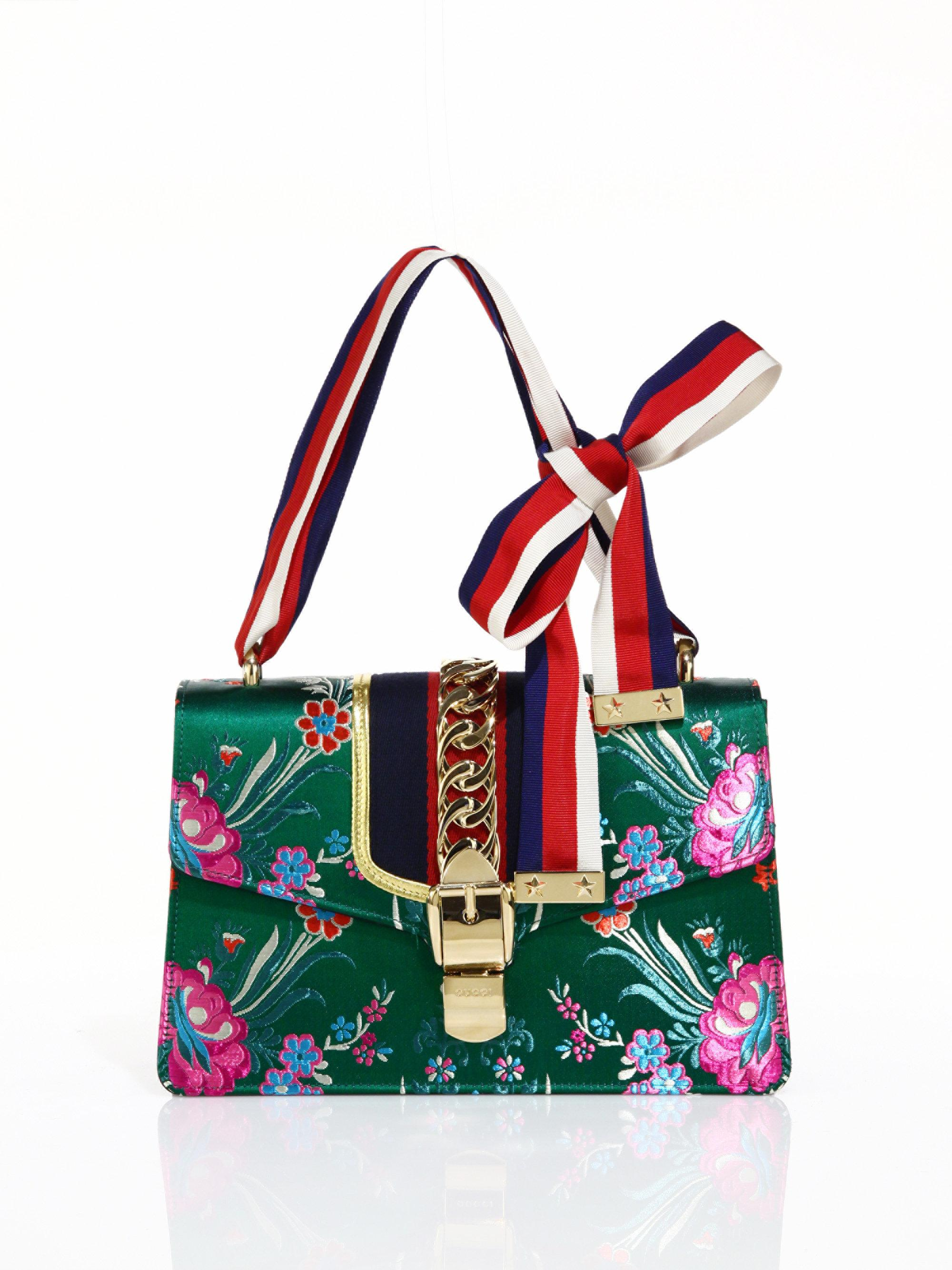 8b9d73b6610 Lyst - Gucci Sylvie Floral Jacquard Shoulder Bag in Green