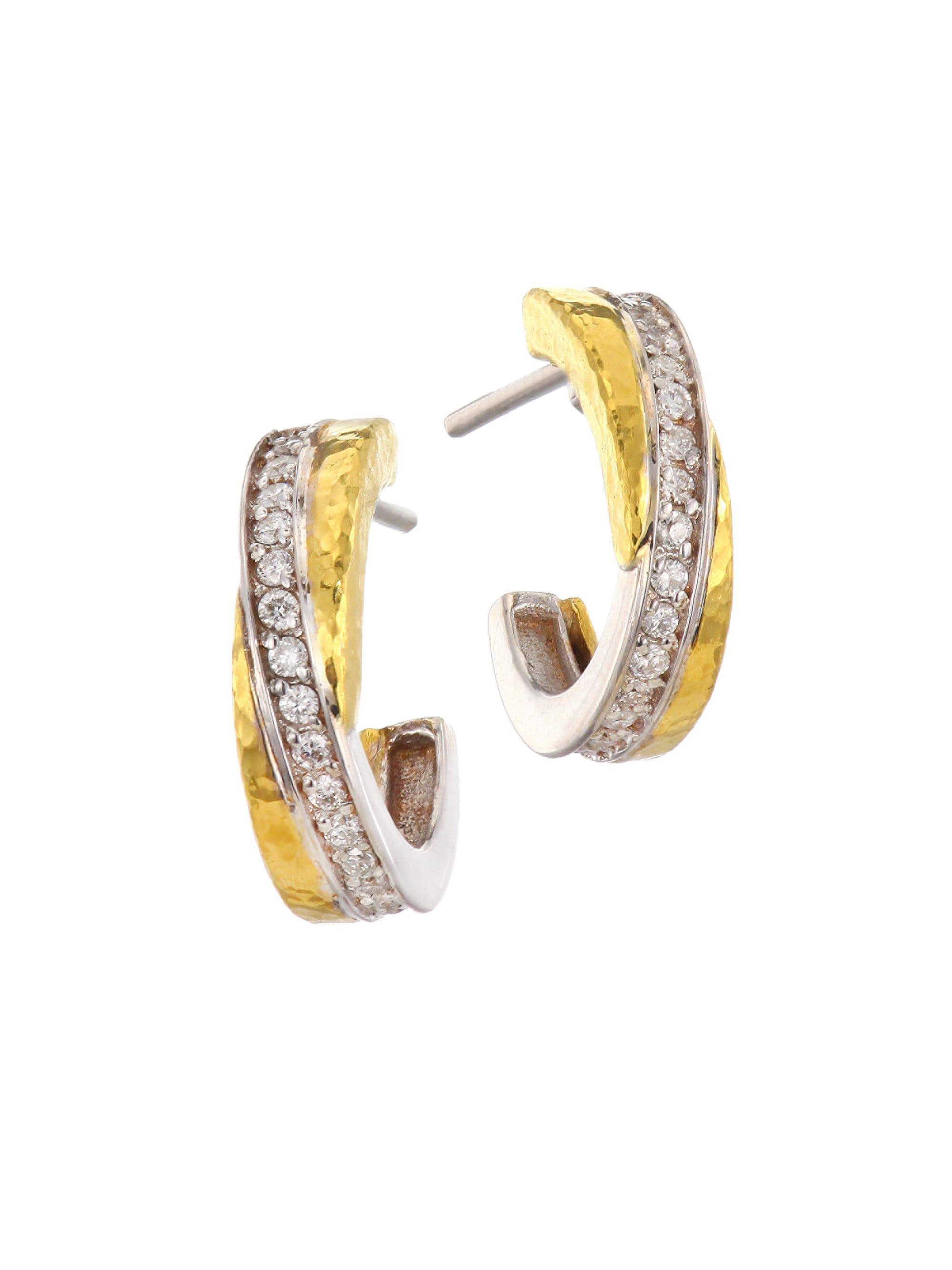 Gurhan Women S Metallic Duet Two Tone 18k 24k Gold Diamond Pavé Hoop Earrings