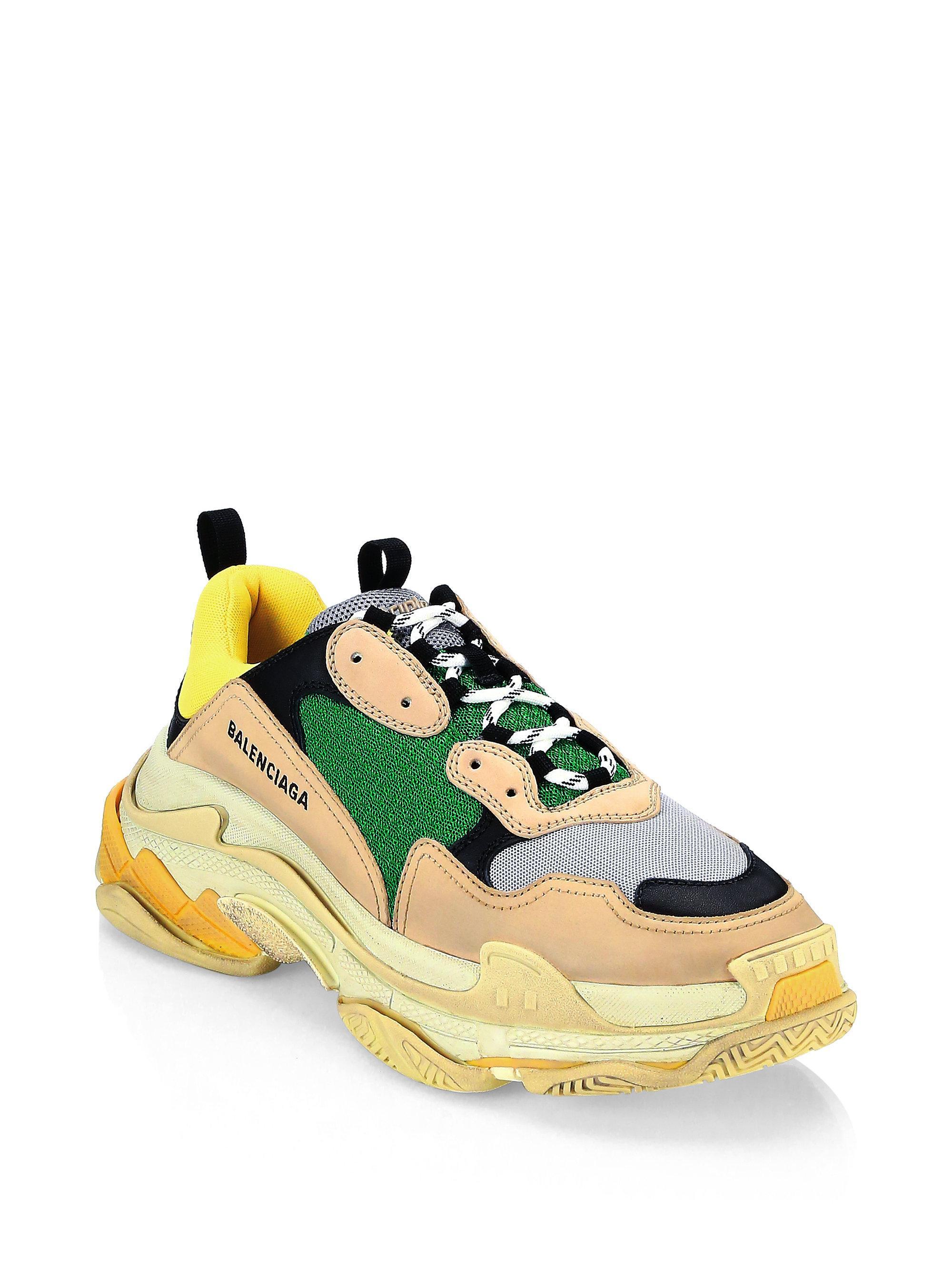 Balenciaga Triple S Suede & Mesh Paneled Sneakers KnDMVCbO