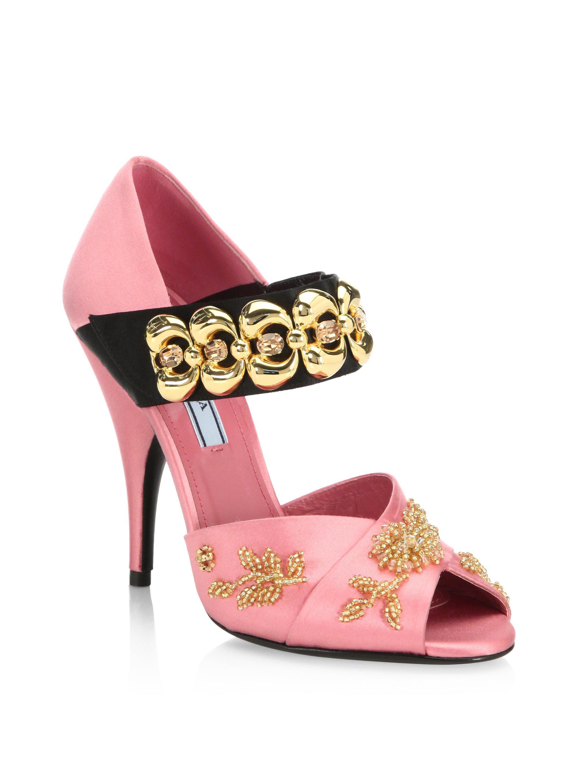 de3d3d1eed4 Lyst - Prada Bracelet-strap Embellished Satin Peep Toe Pumps in Pink