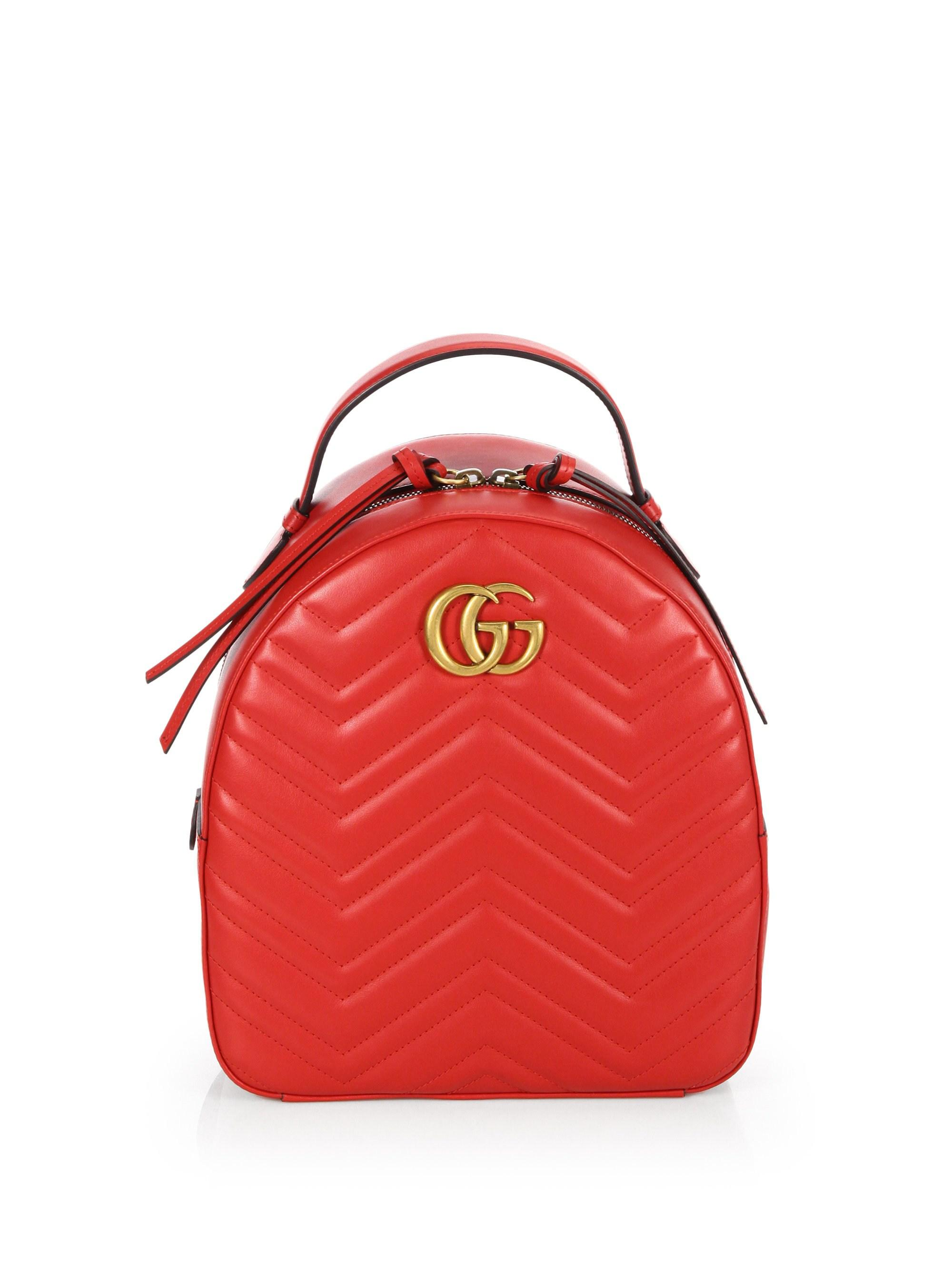 9343cc9155d2 Lyst - Gucci Women s GG Marmont Chevron Quilted Leather Mini ...