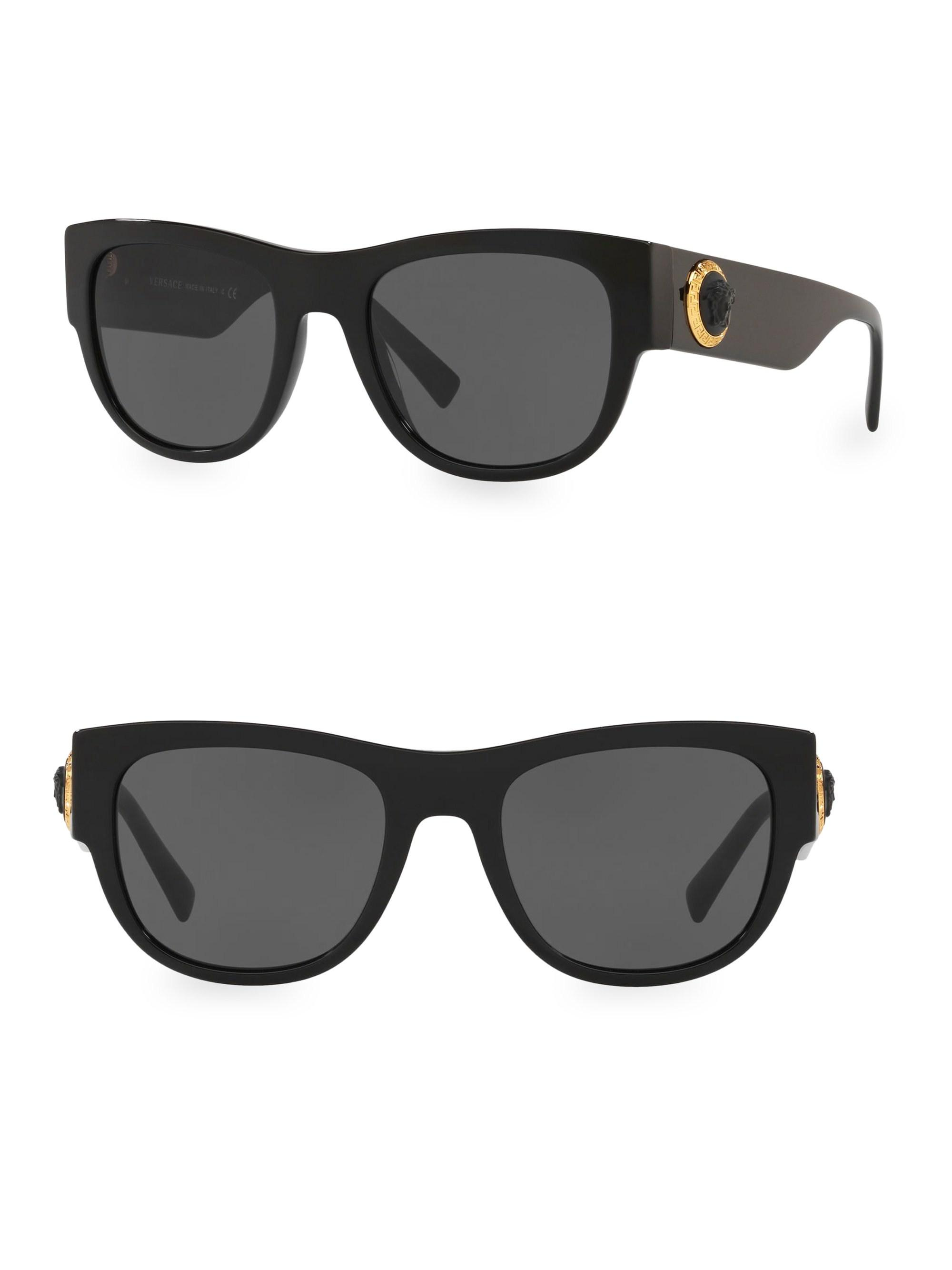 9782e8daad Versace Rock Icons 55mm Square Sunglasses in Black - Lyst
