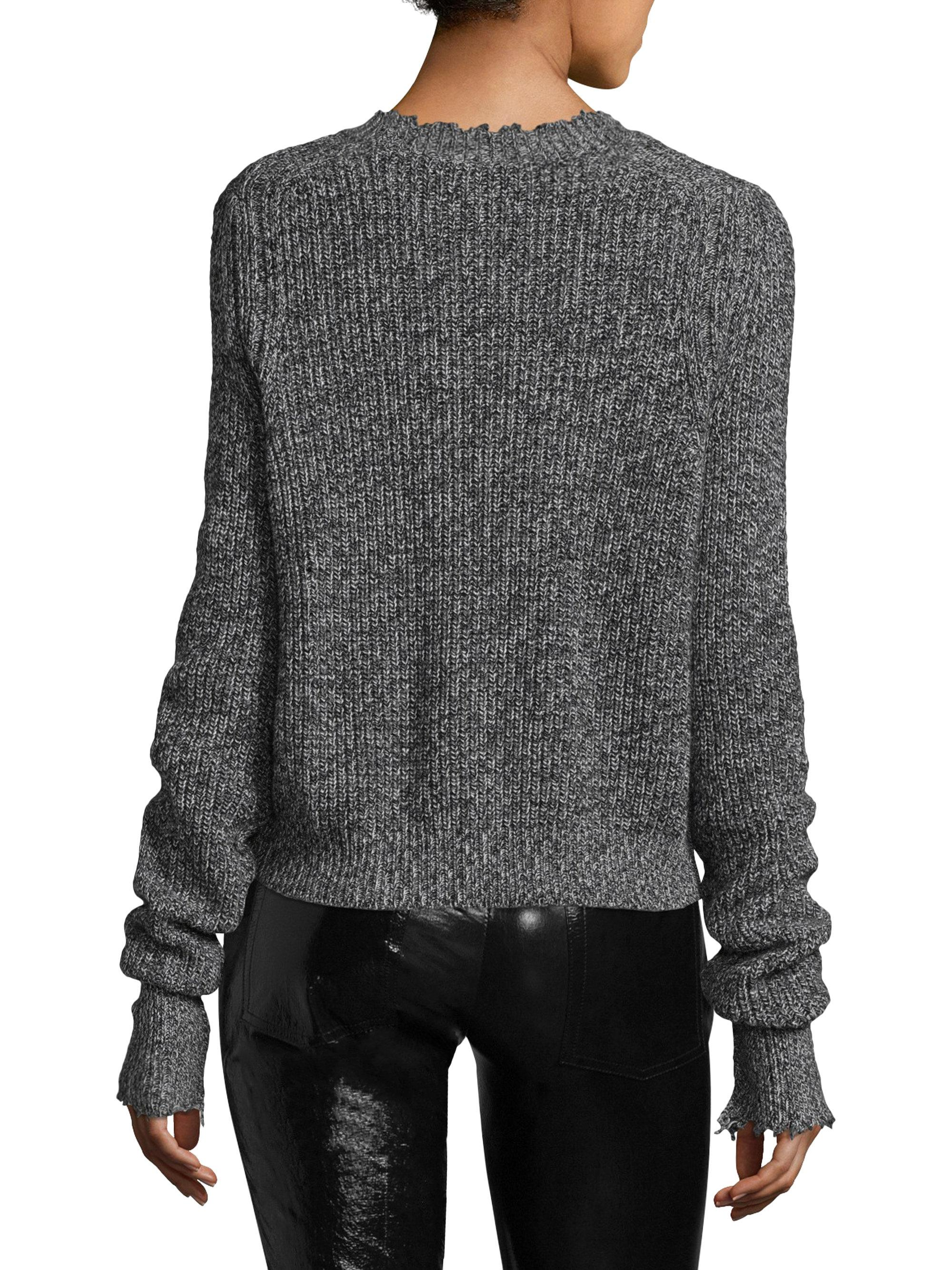 Helmut Lang Distressed Marled Cotton Blend Sweater In Gray Lyst Kaos Grunge Gallery