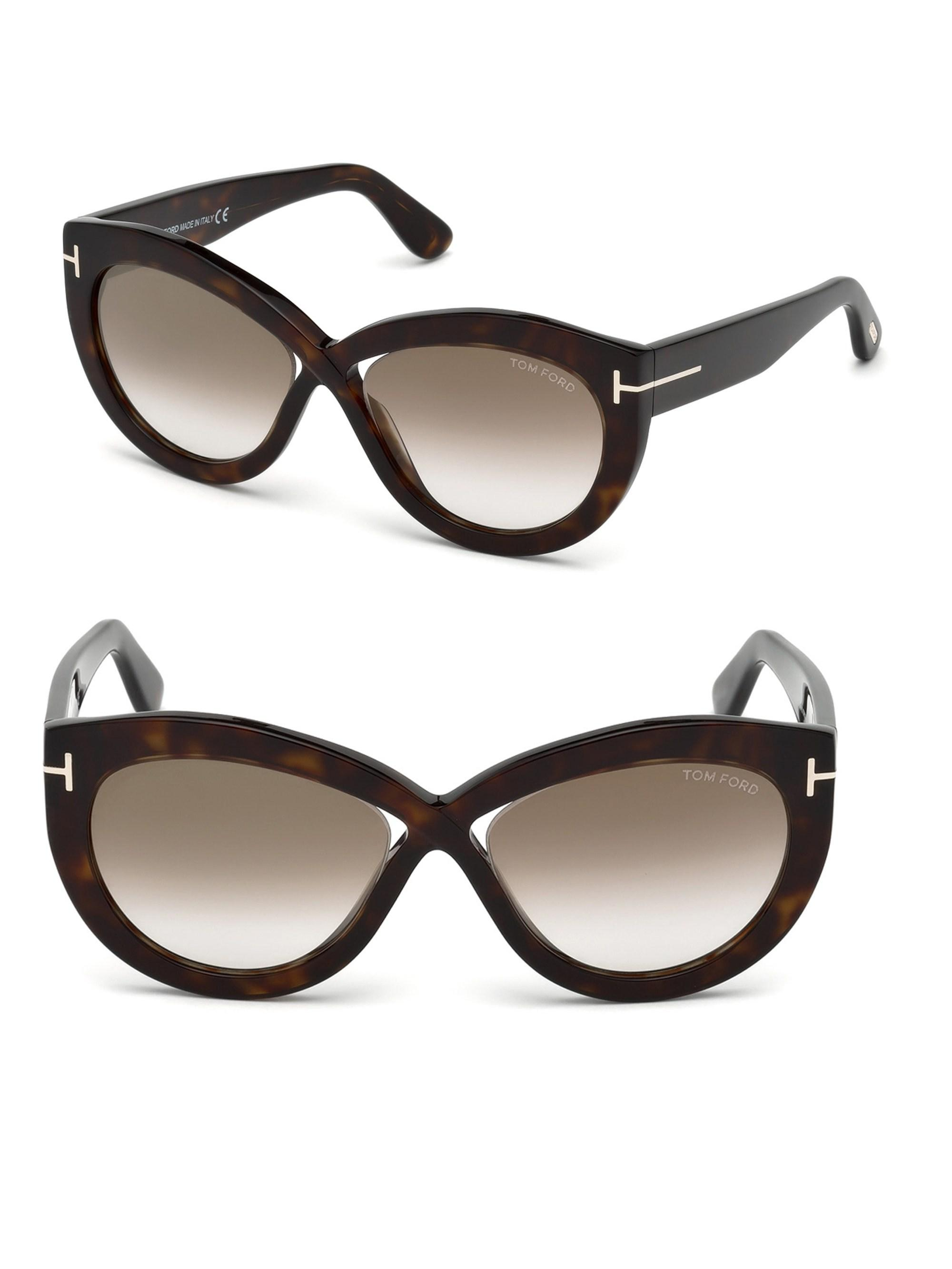 d64d460051 Tom Ford Diane 56mm Cat-eye Cross Front Sunglasses in Brown - Lyst