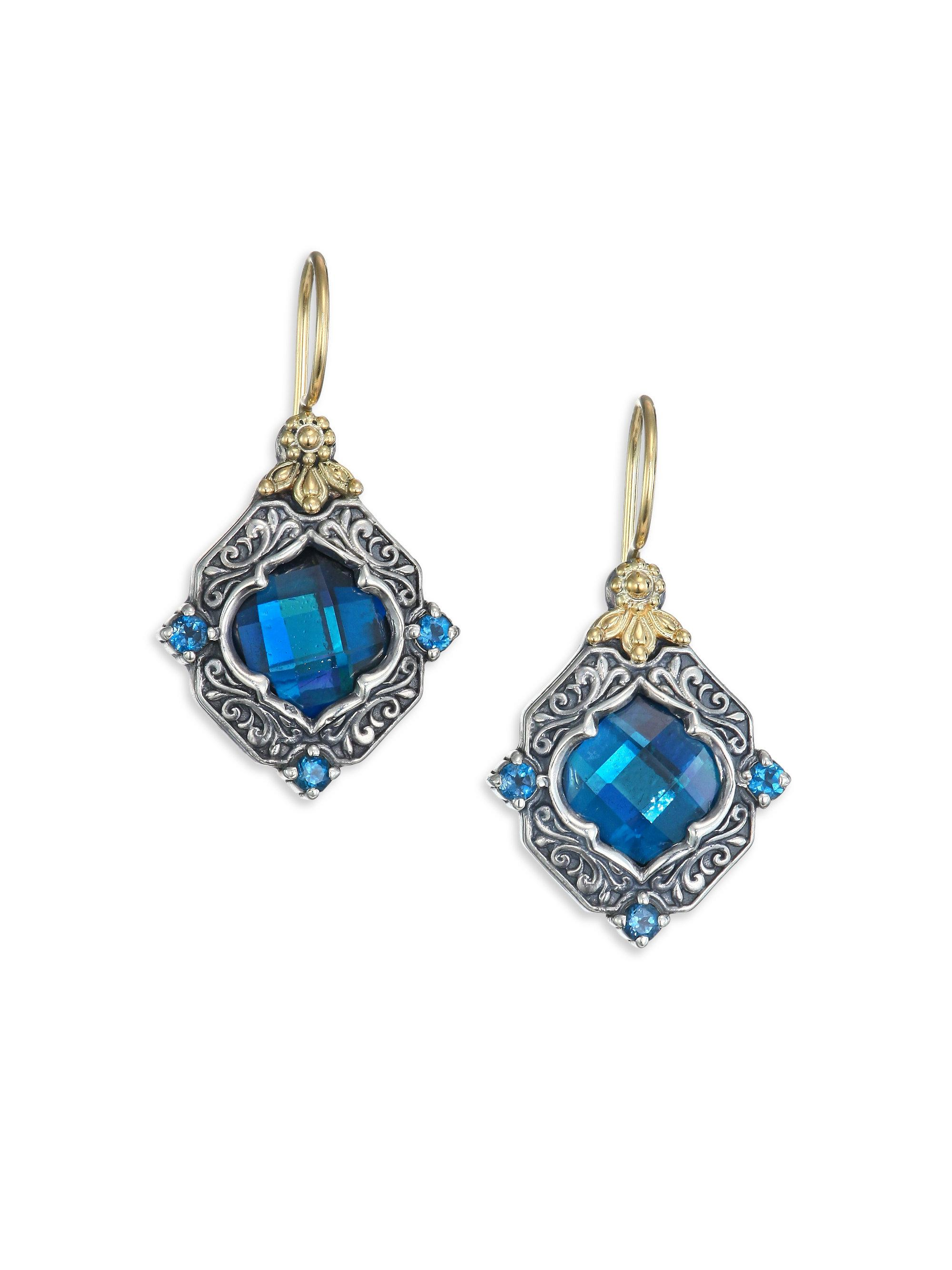 Konstantino Women S Metallic Thala London Blue Topaz Sterling Silver 18k Yellow Gold Drop Earrings