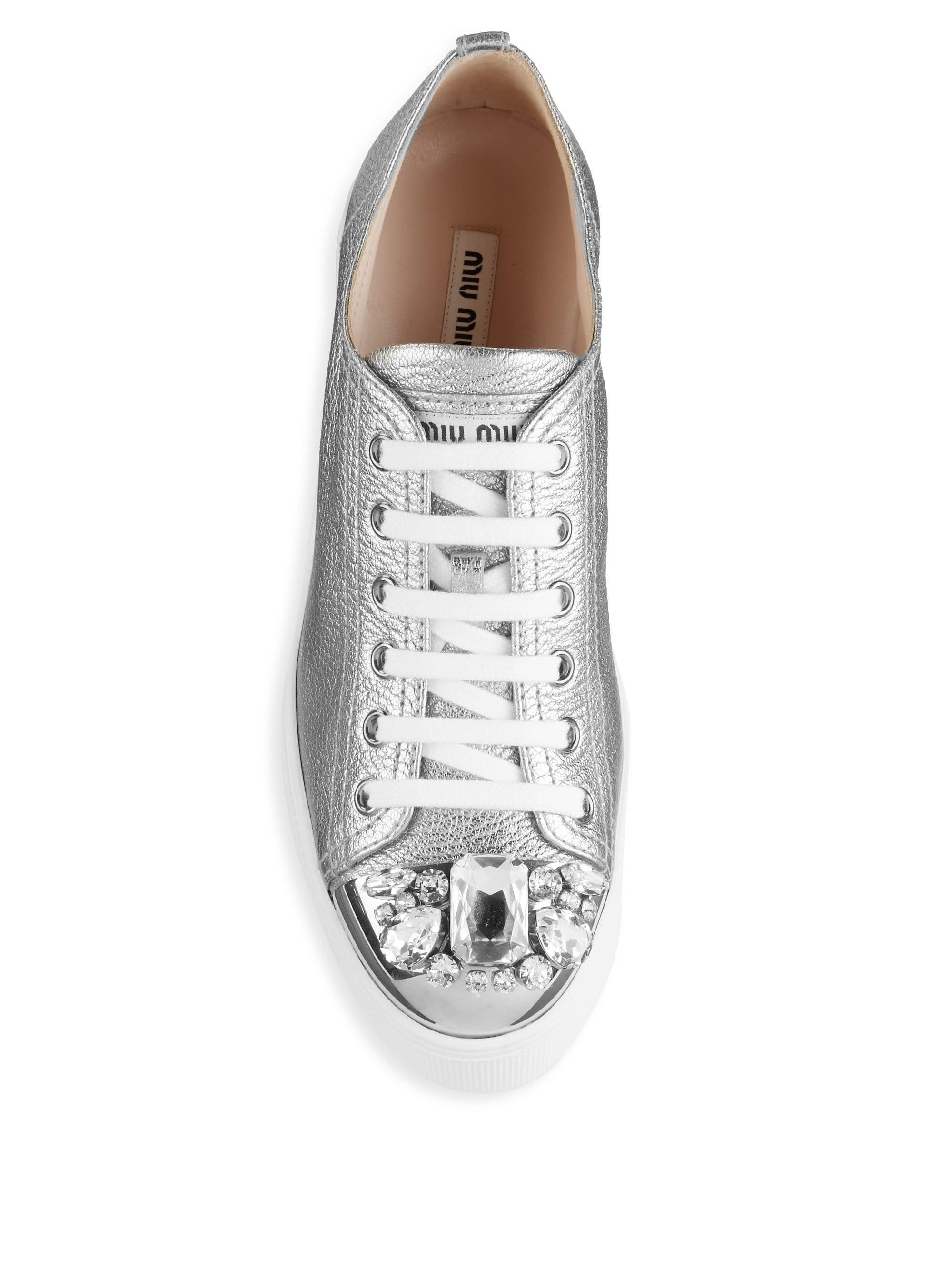 eb0081ef3c9 Miu Miu Embellished Leather Cap Toe Platform Wedge Sneakers - Lyst