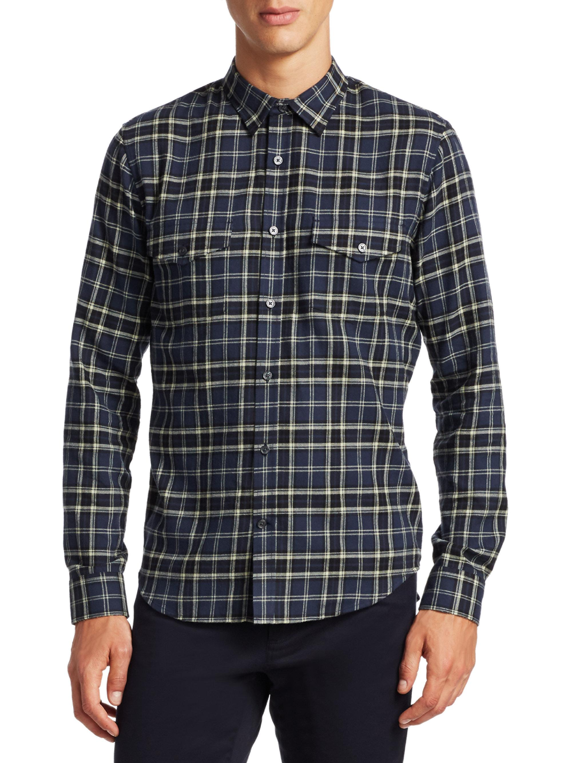 Lyst Vince Plaid Cotton Button Down Shirt For Men