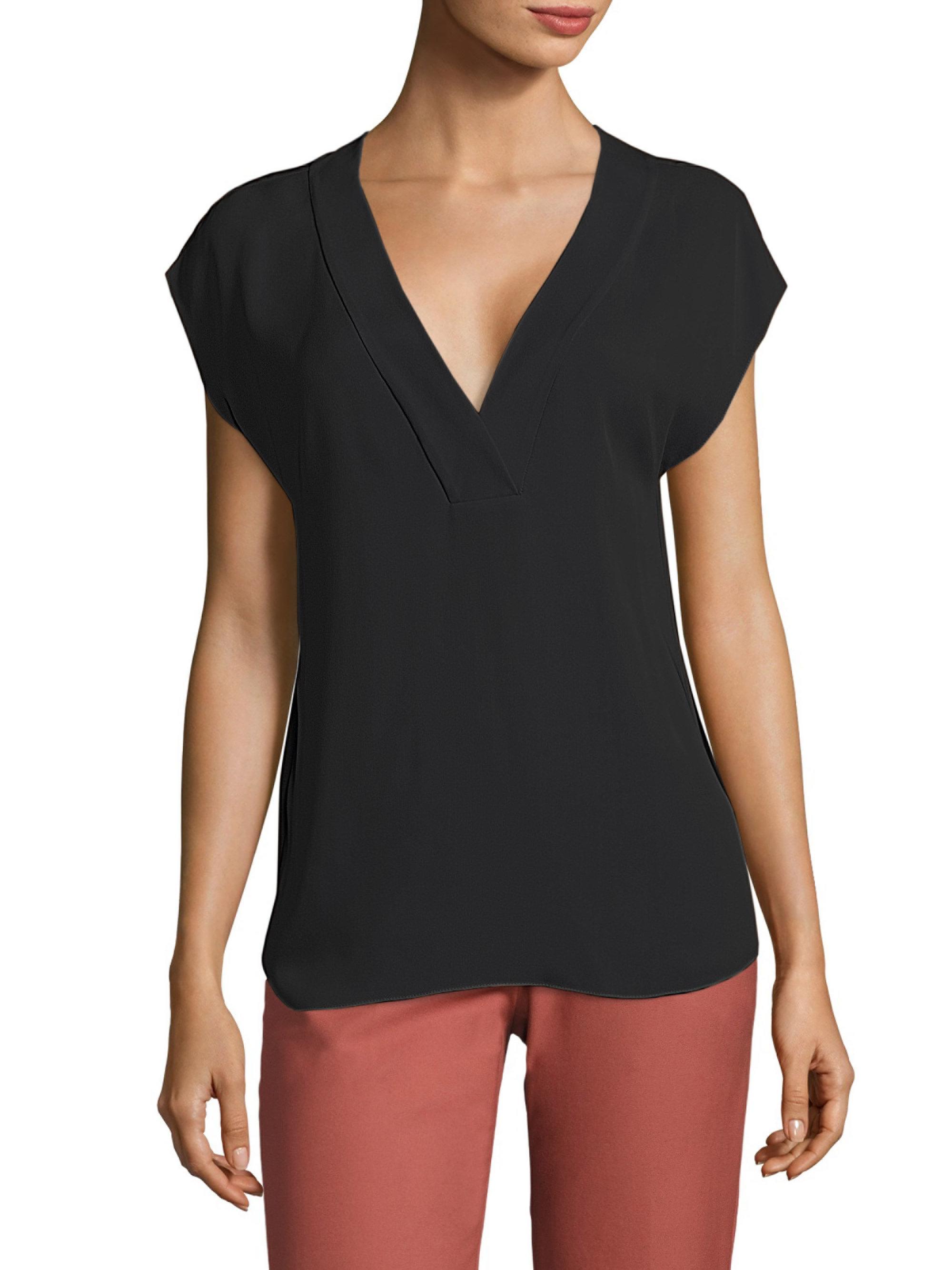 4eb373a3eada3 Lyst - Theory Orwin Silk Georgette Blouse in Black