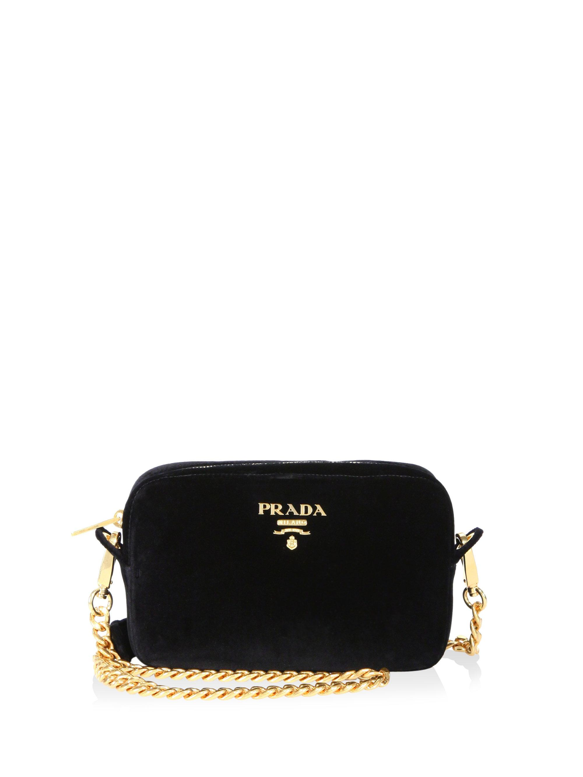 3dc814be675e ... uk prada black bandoliera velvet chain camera bag lyst. view fullscreen  843fc f5afc