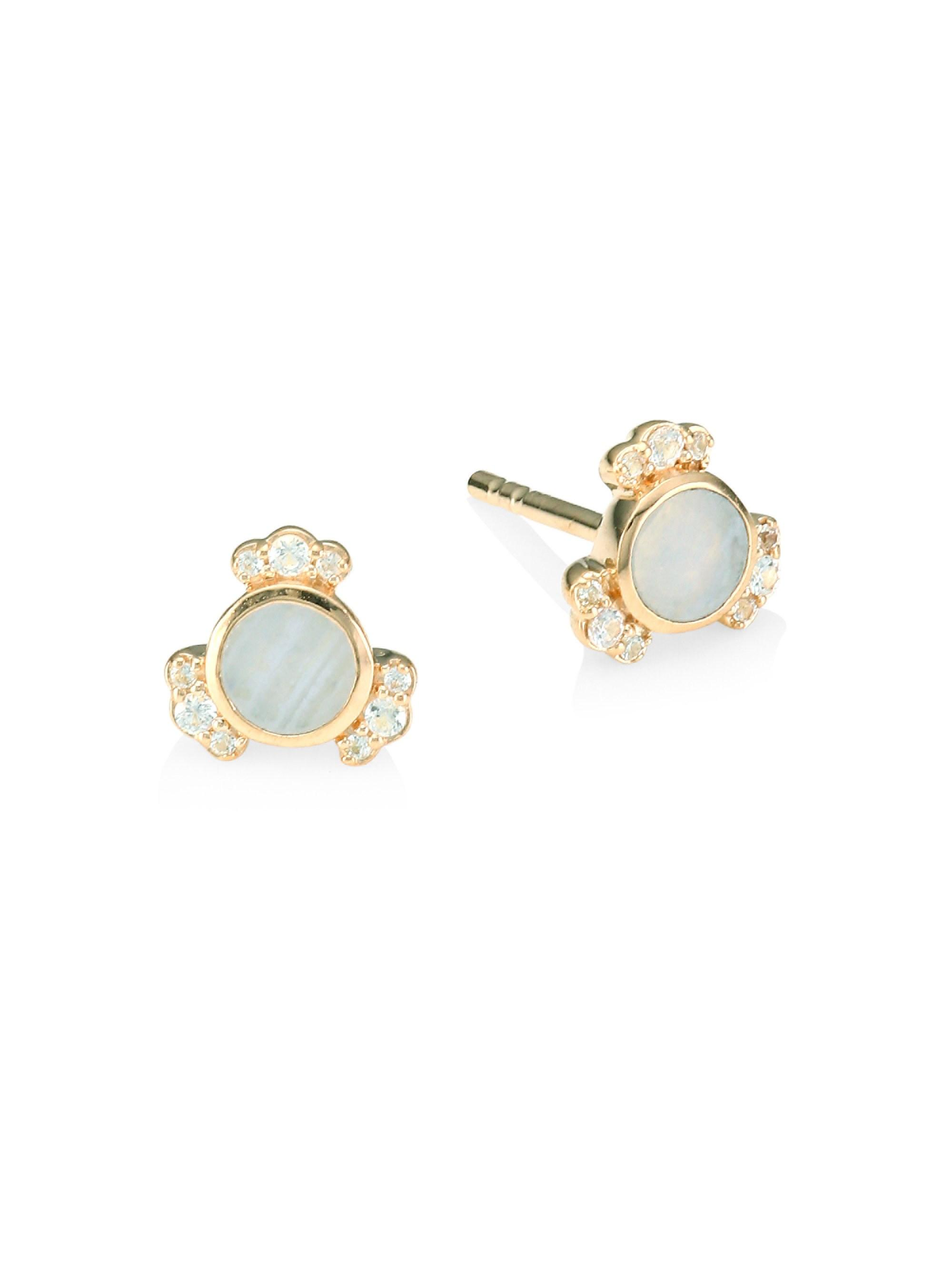 3c4b22bb2 Astley Clarke. Women's 18k Rose Goldplated Lace Agate & White Sapphire Stud  Earrings - Rose Gold