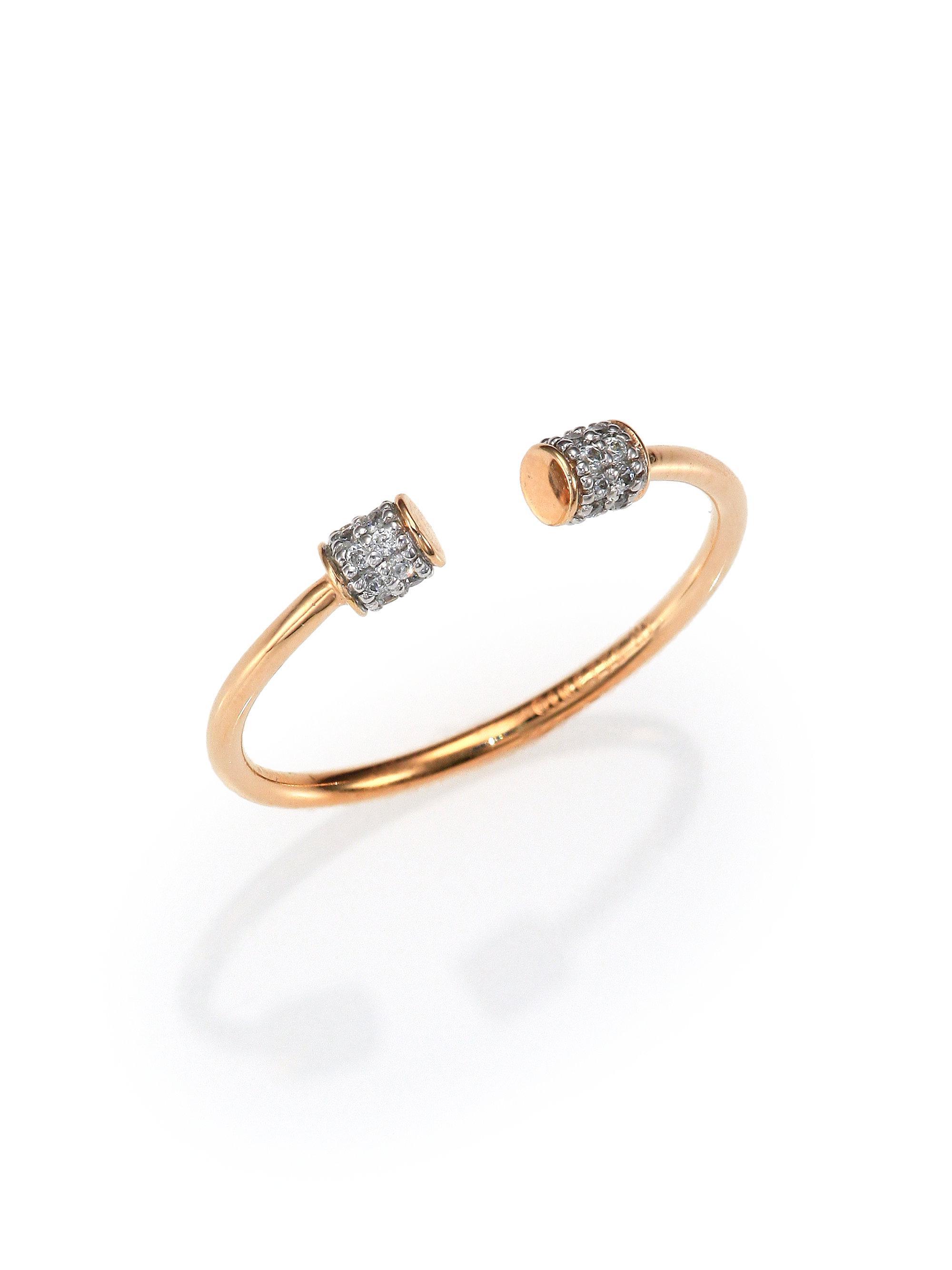 Ginette NY Single Diamond Choker 18-karat rose gold ring l2bJiSV7
