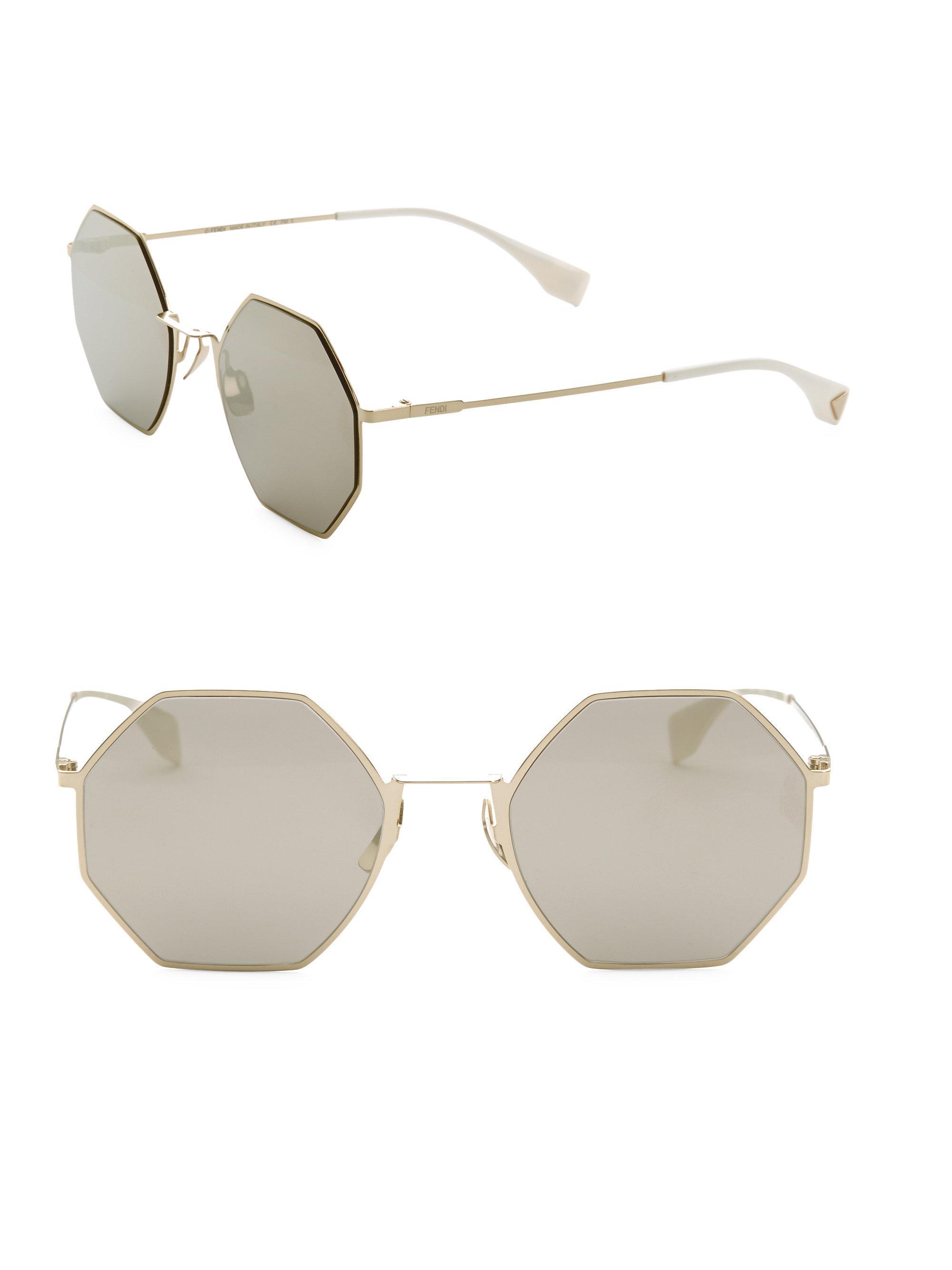 d4005eefa63 Fendi - Metallic 53mm Geometric Metal Sunglasses - Lyst. View fullscreen