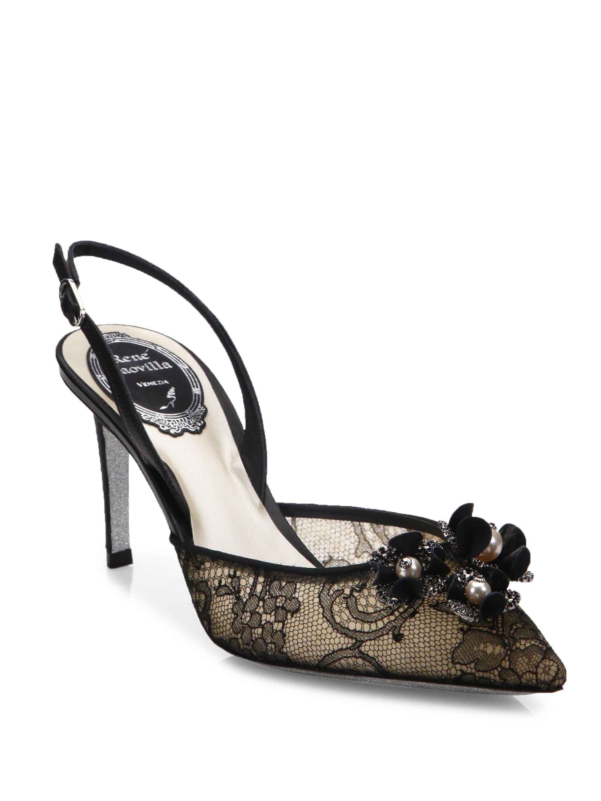 René Caovilla Lace Slingback Pumps buy cheap original clearance finishline websites sale online 2014 unisex online 4Dhkowu1zR