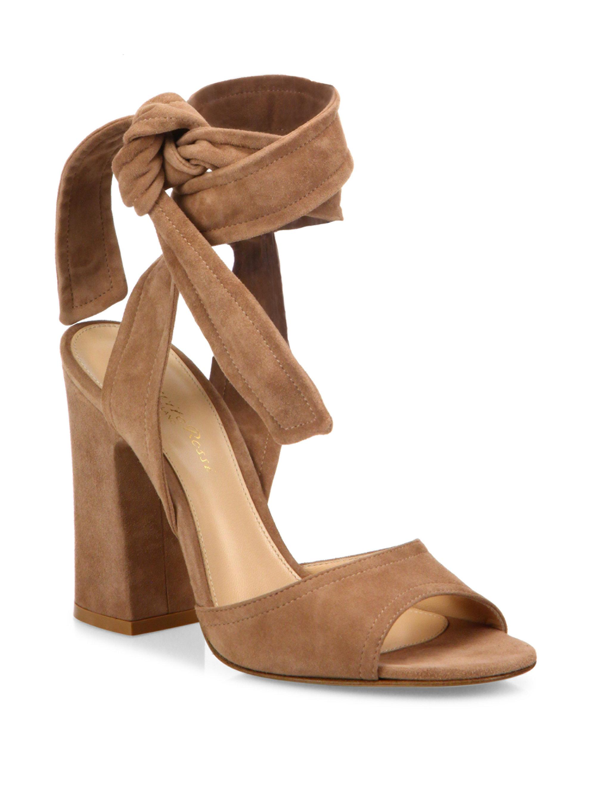 e5c0306587 Gianvito Rossi Nika Suede Ankle-wrap Block Heel Sandals in Brown - Lyst