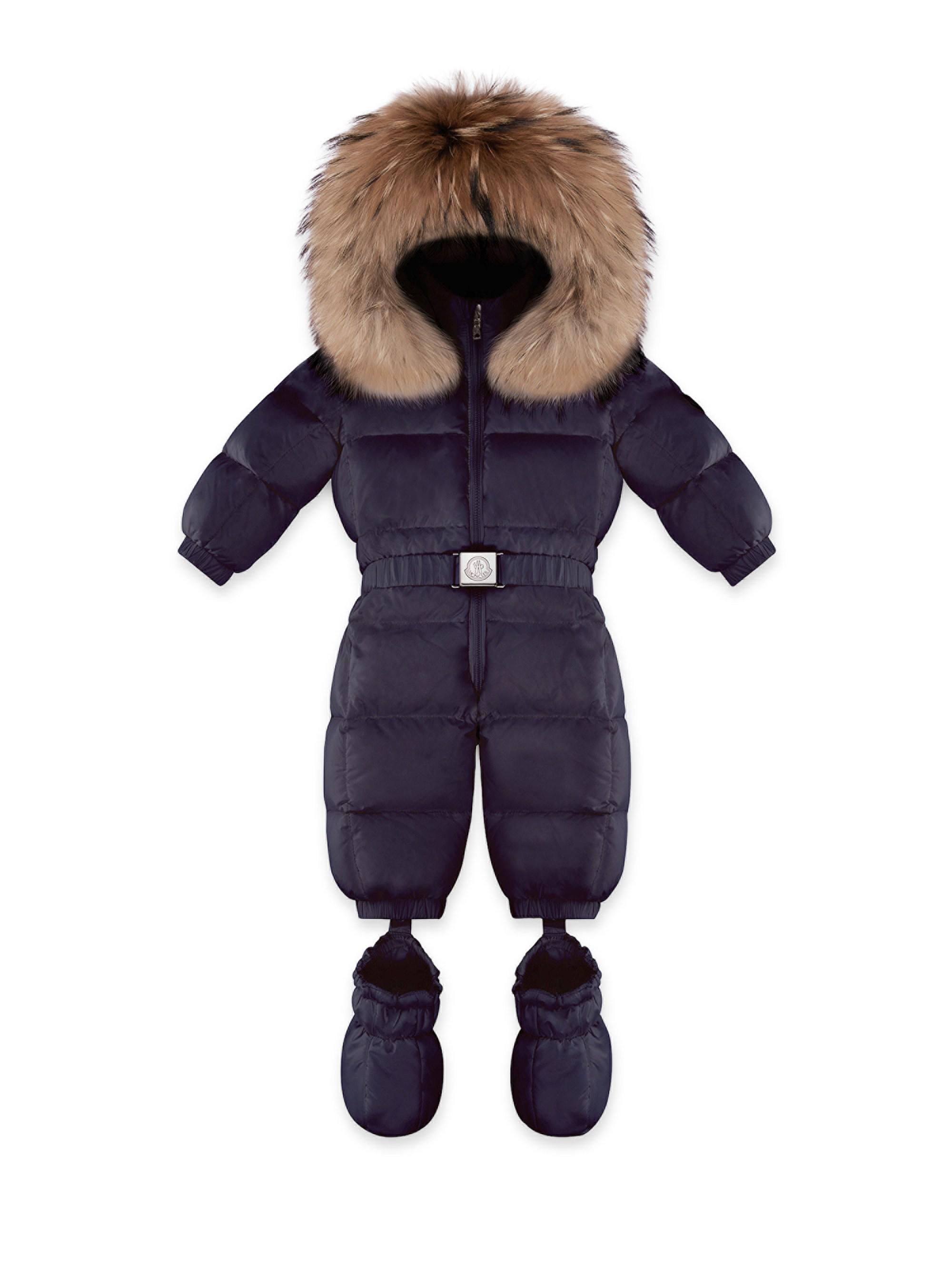 13bf5b19e Moncler Baby Girl s Fur-trim Snowsuit in Blue - Lyst