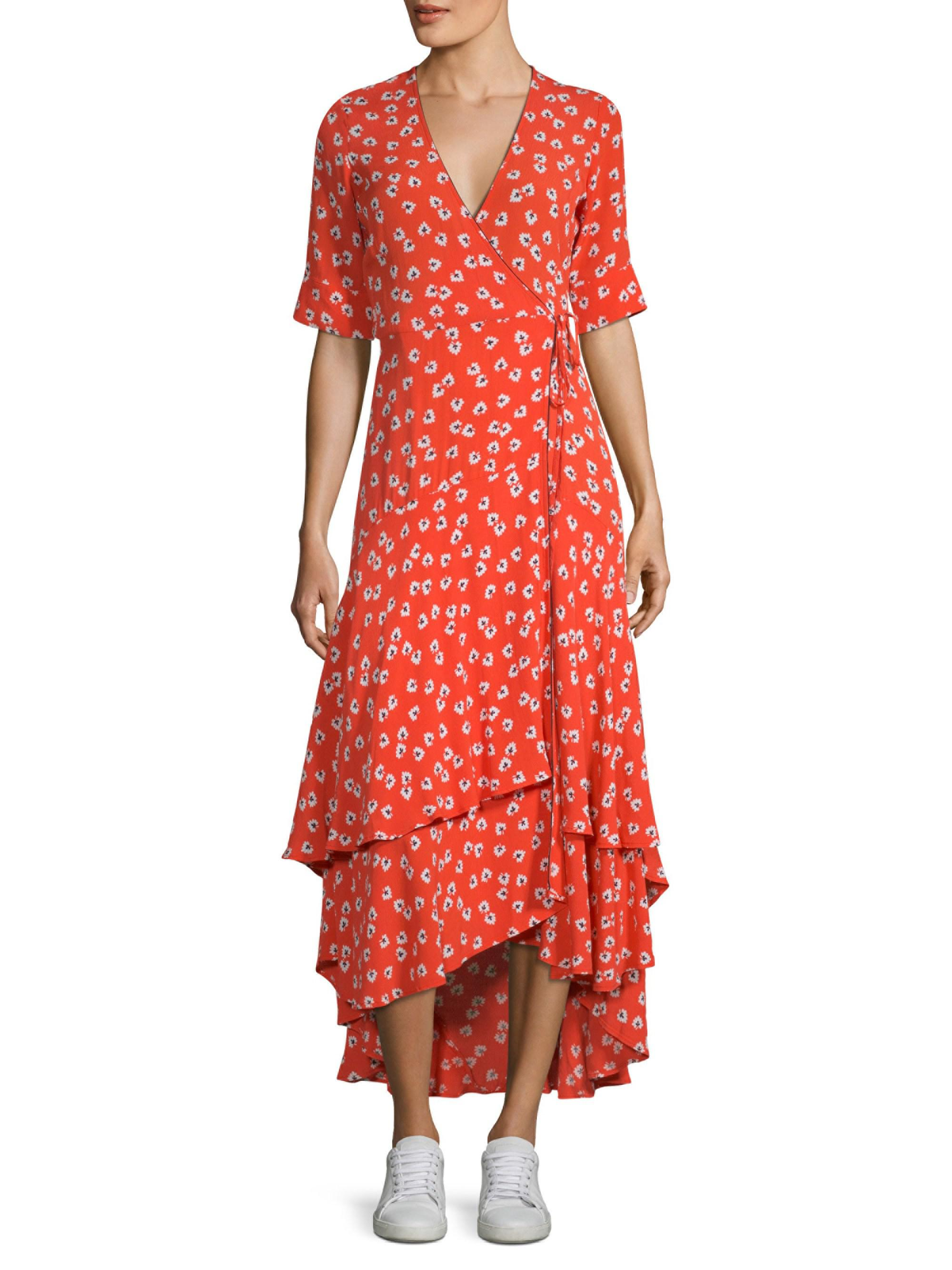 81cd6aee Ganni Floral-print Crepe De Chine Wrap Maxi Dress in Red - Lyst