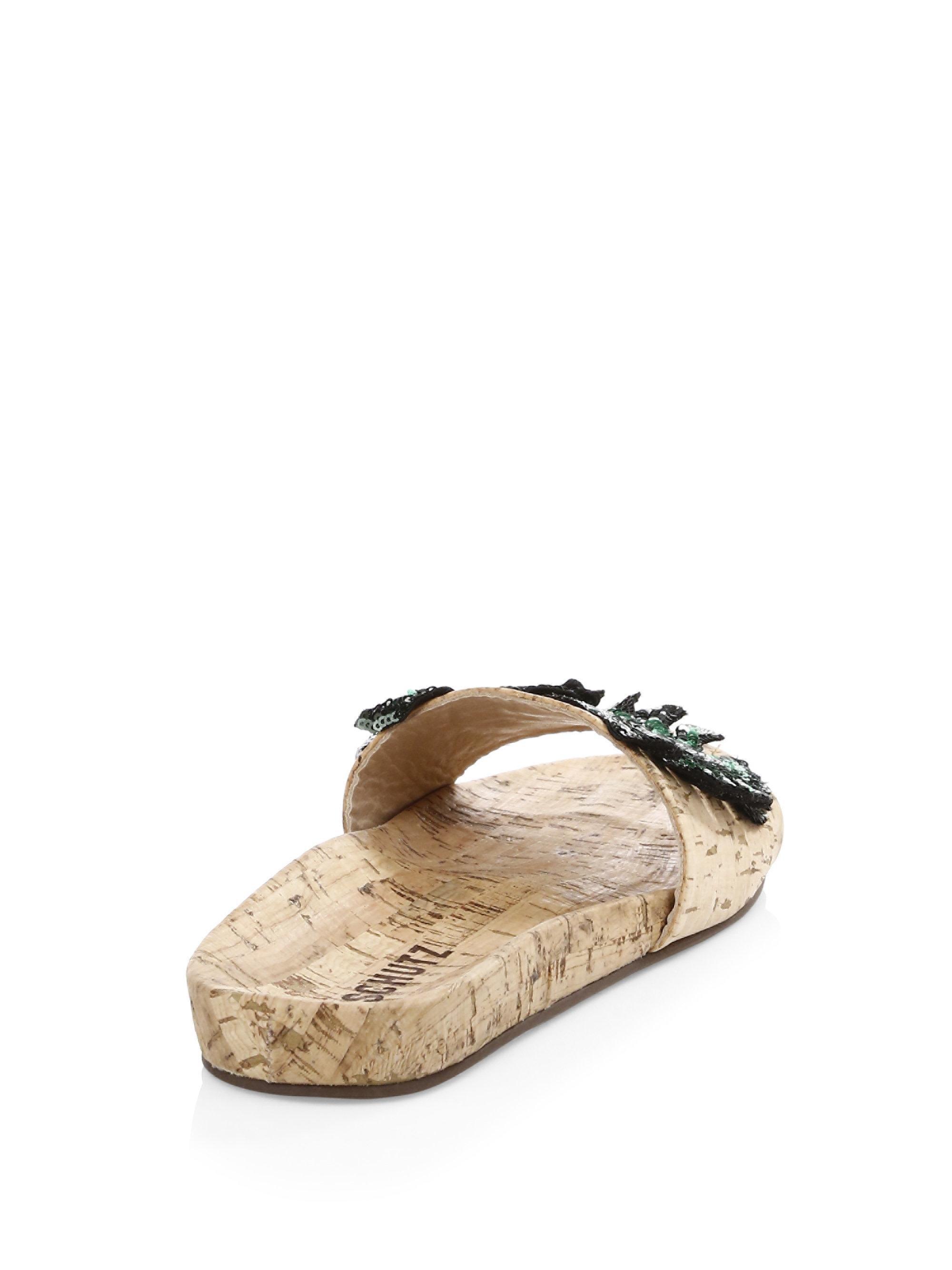 Schutz Leeya Sequin Cork Slides qHJecXHV8v