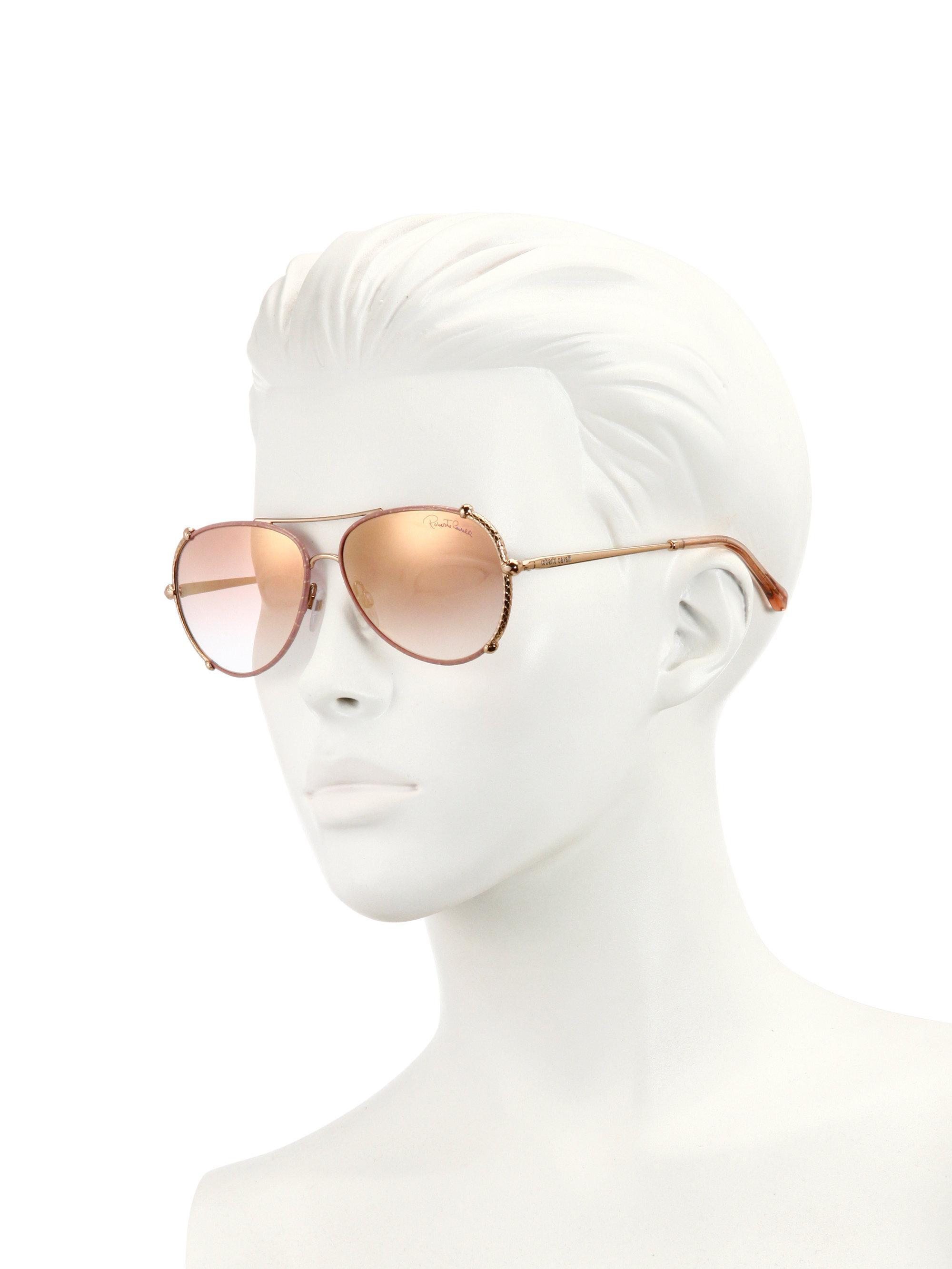 a1e3a5f6c Roberto Cavalli Women's 58mm Leather-trim Aviator Sunglasses - Pink ...