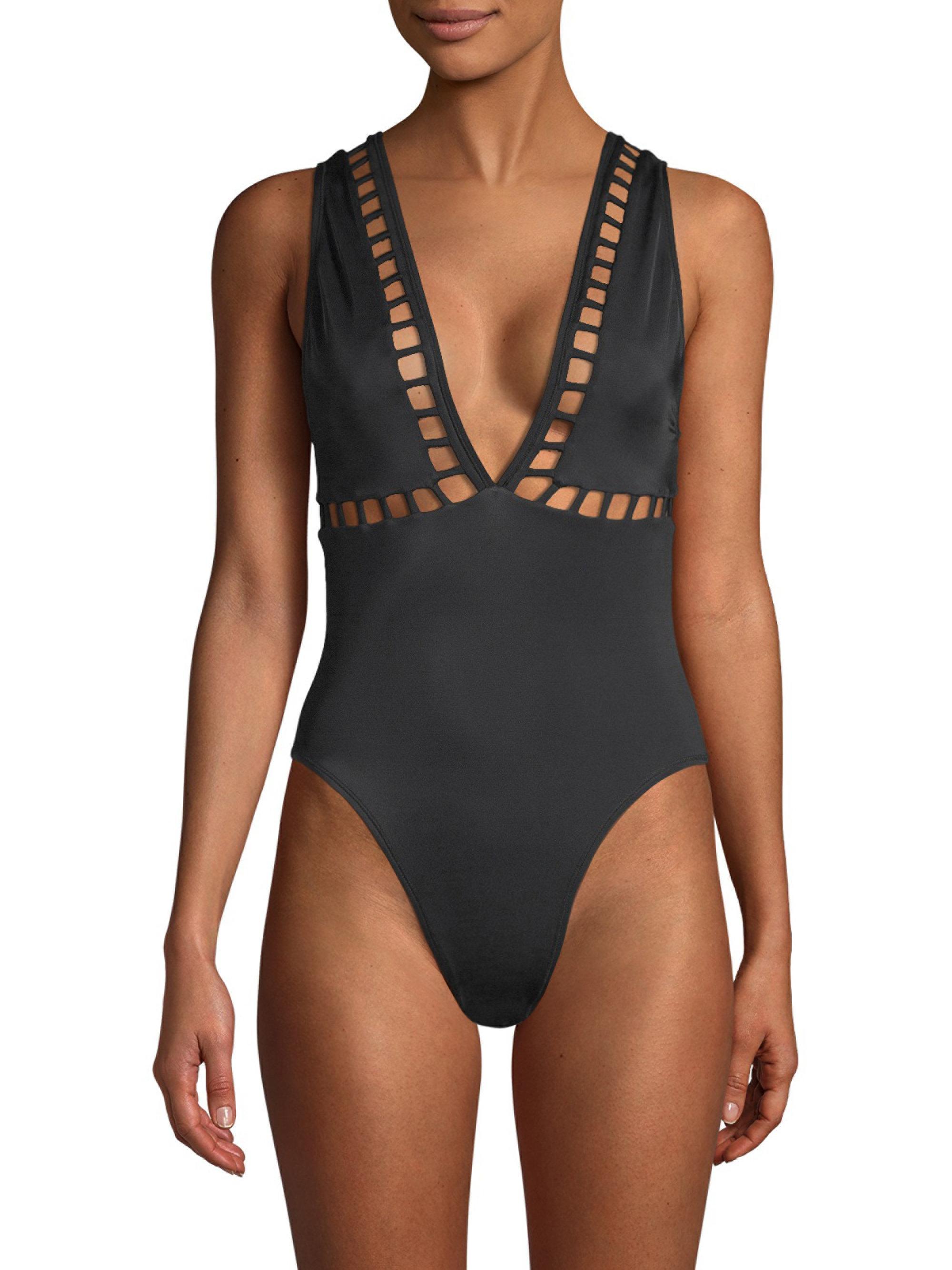 9e5308797a869 Lyst - Oye Swimwear Ela Plunge One-piece Swimsuit in Black