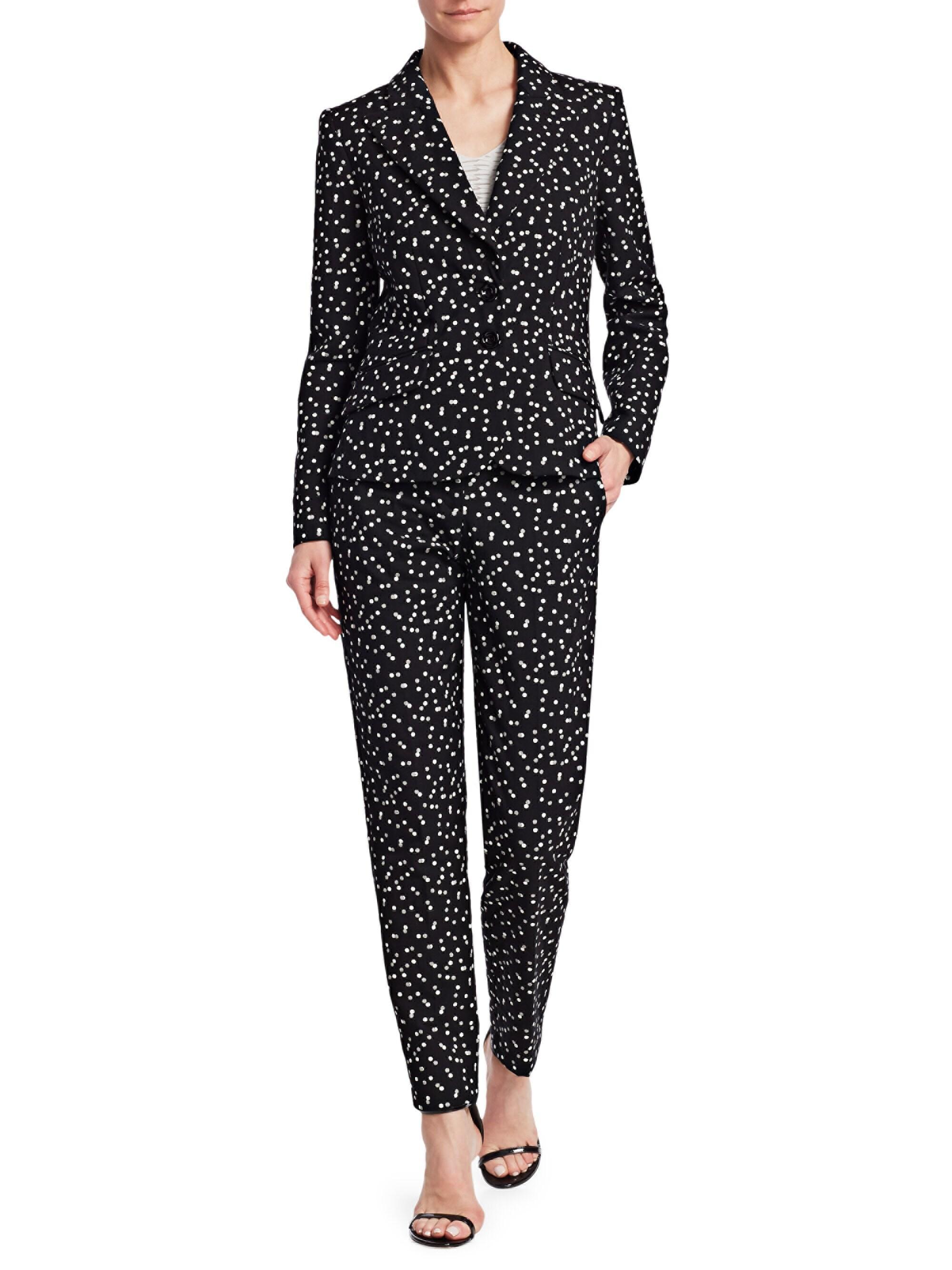 f5589fdf8f Emporio Armani Women's Polka Dot Stretch Cotton Blazer in Black - Lyst