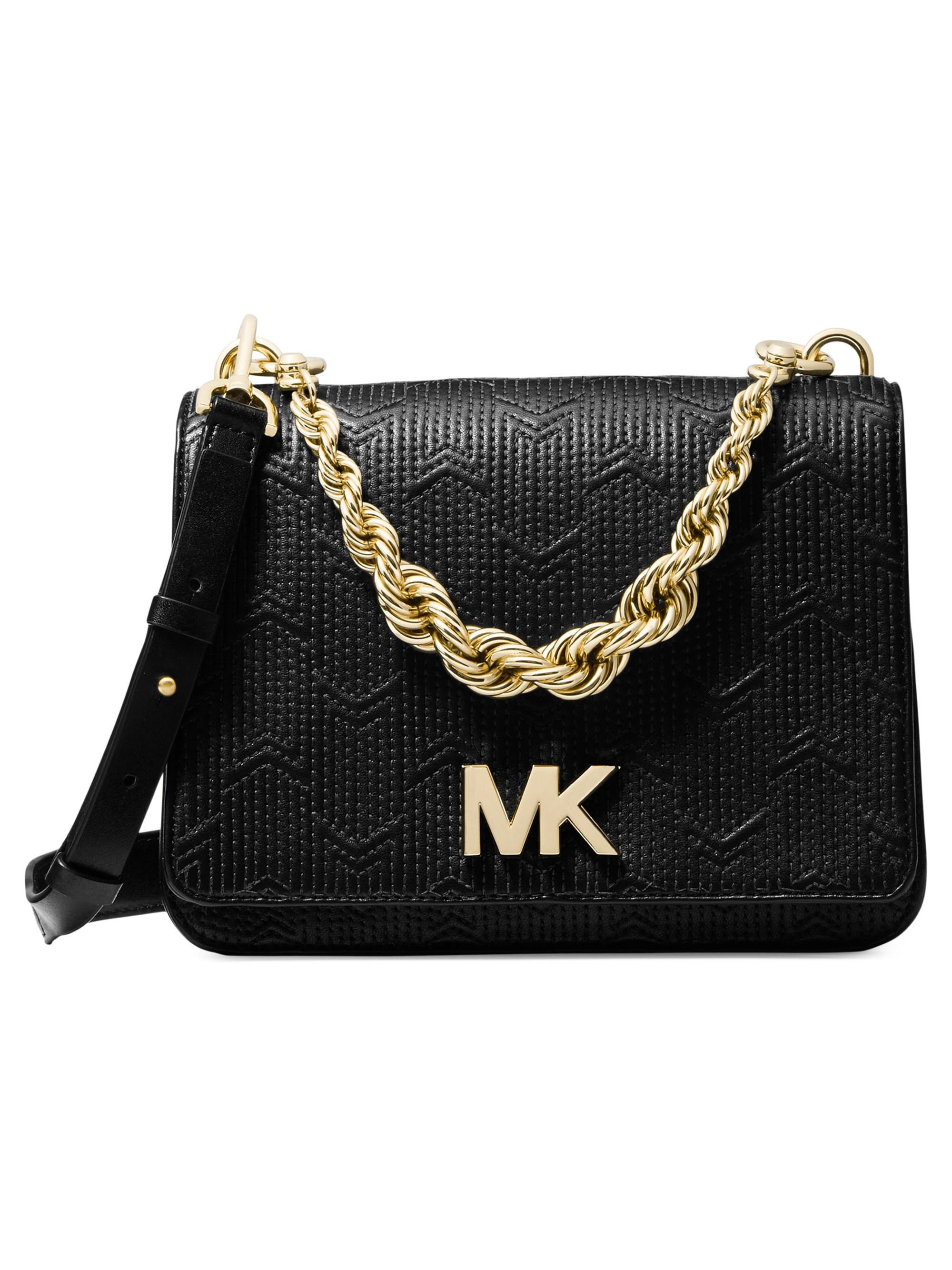 923c4cb3627aa Lyst - Michael Kors Michael Mott Chain Shoulder Bag in Black