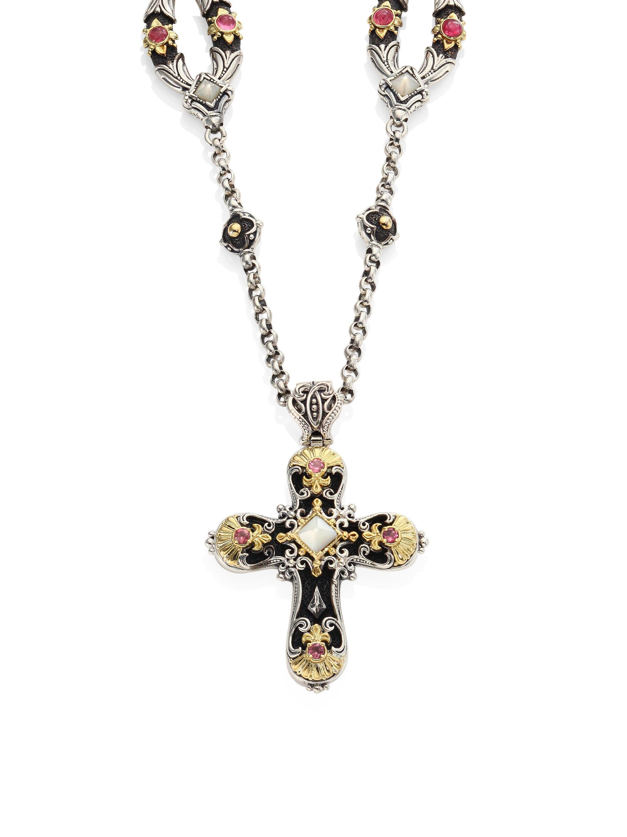 Konstantino Cross Pendant with Pink Tourmaline & Mother-of-Pearl 1KCv2