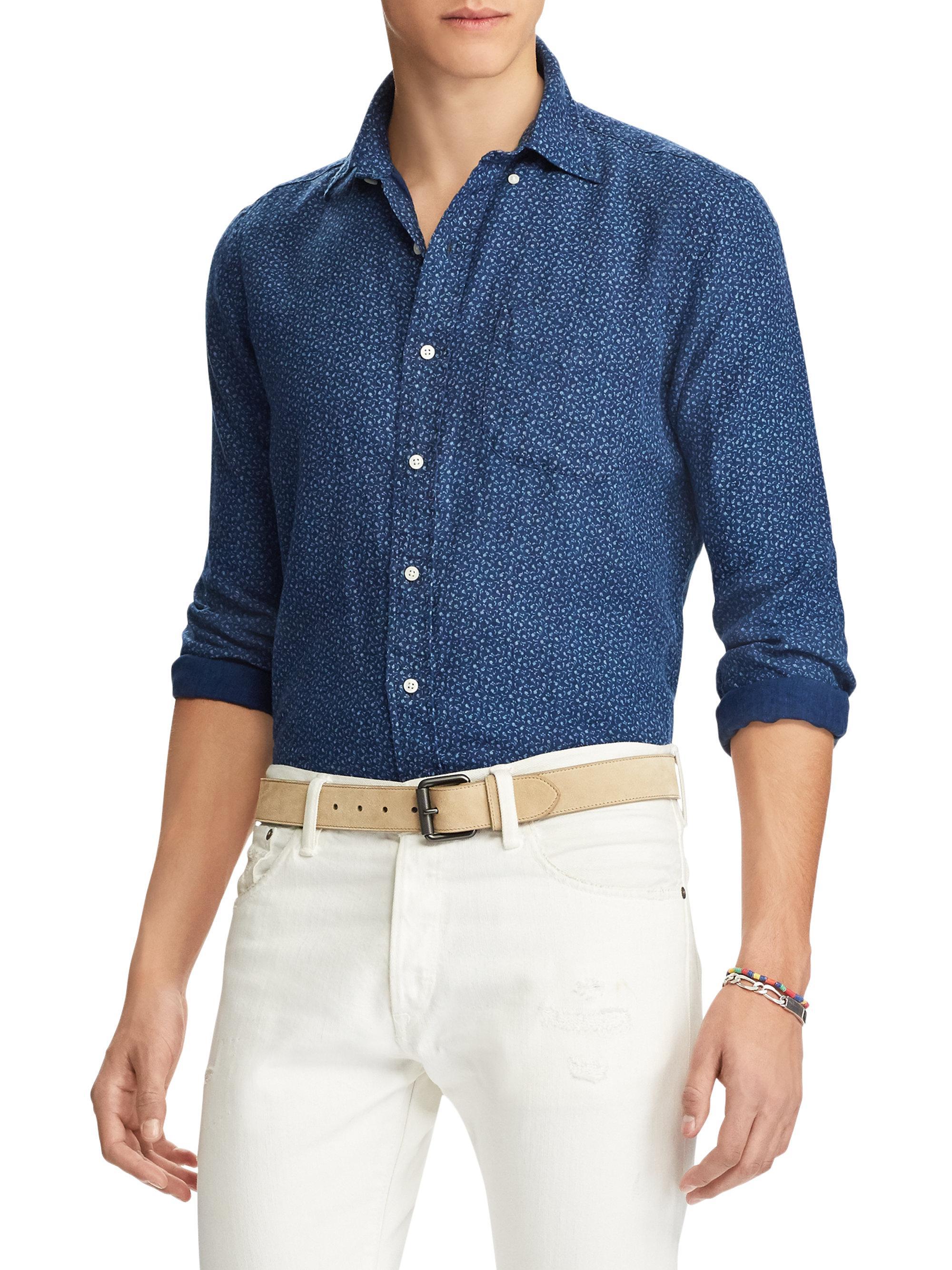 Polo ralph lauren linen mini floral casual button down for Polo ralph lauren casual button down shirts