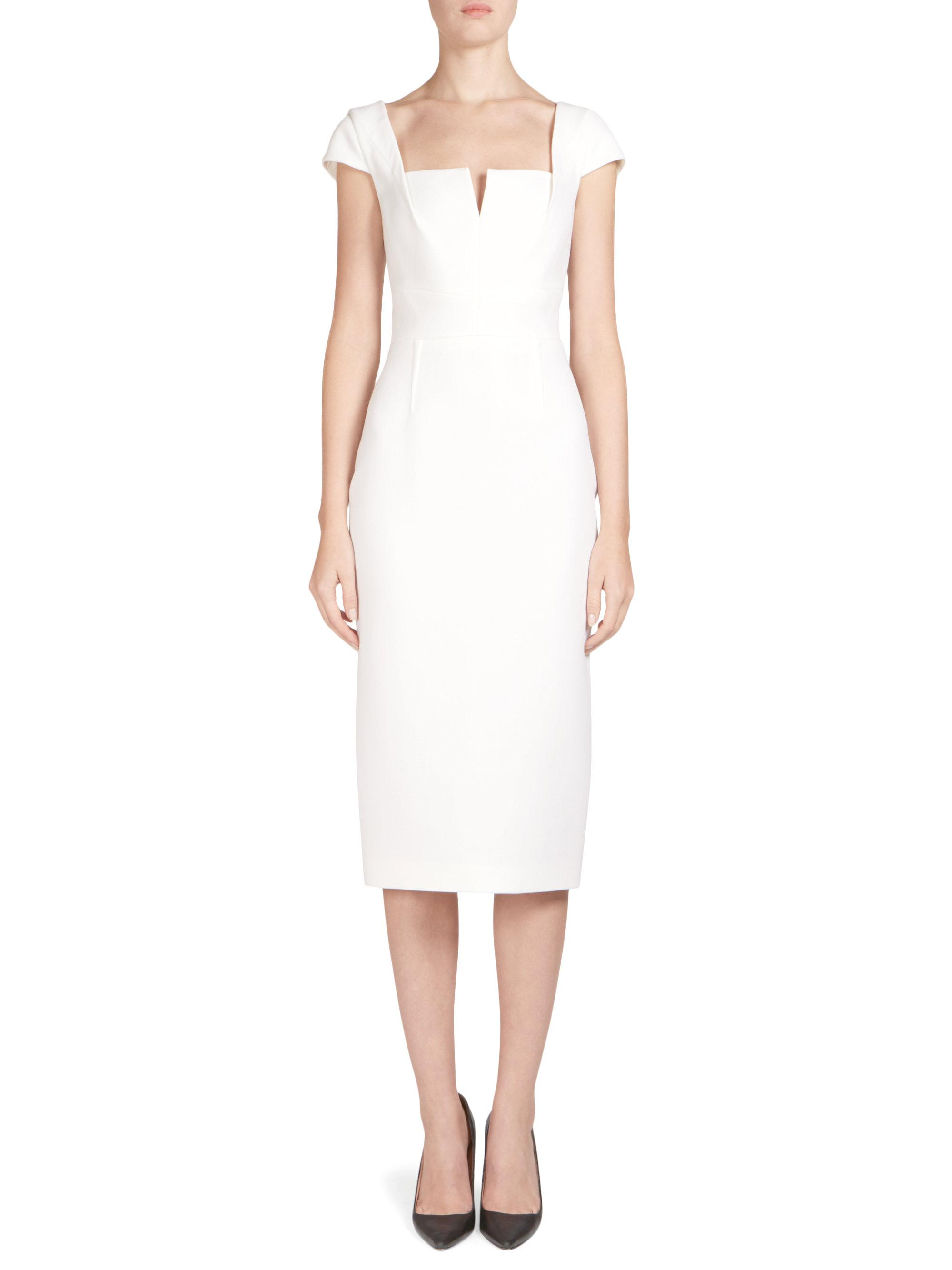 98e15123ed Roland Mouret Hinckley Double Wool Crepe Sheath Dress in White - Lyst