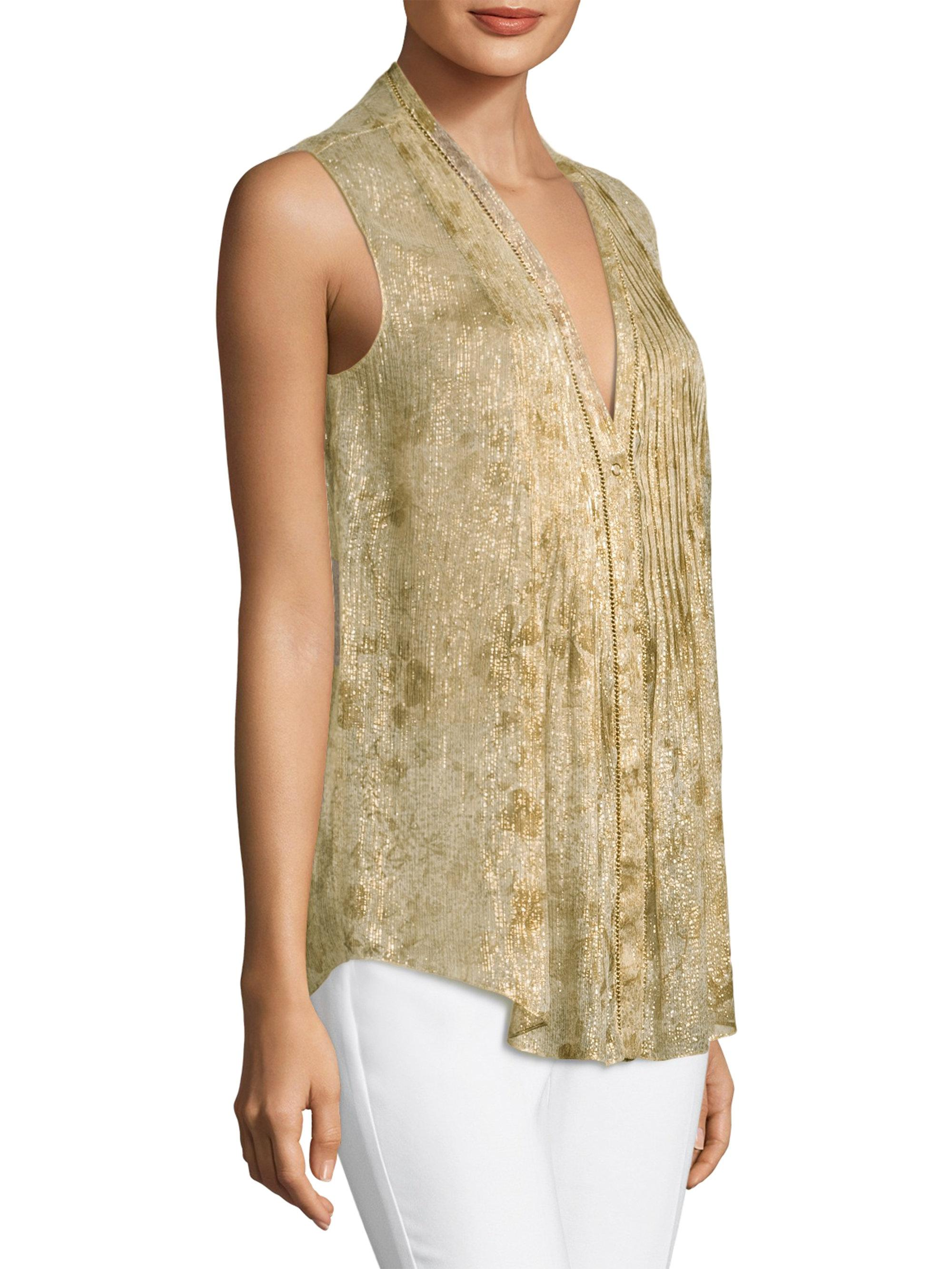 da9bdfd4519a38 Elie Tahari Ellis Metallic Blouse in Metallic - Lyst