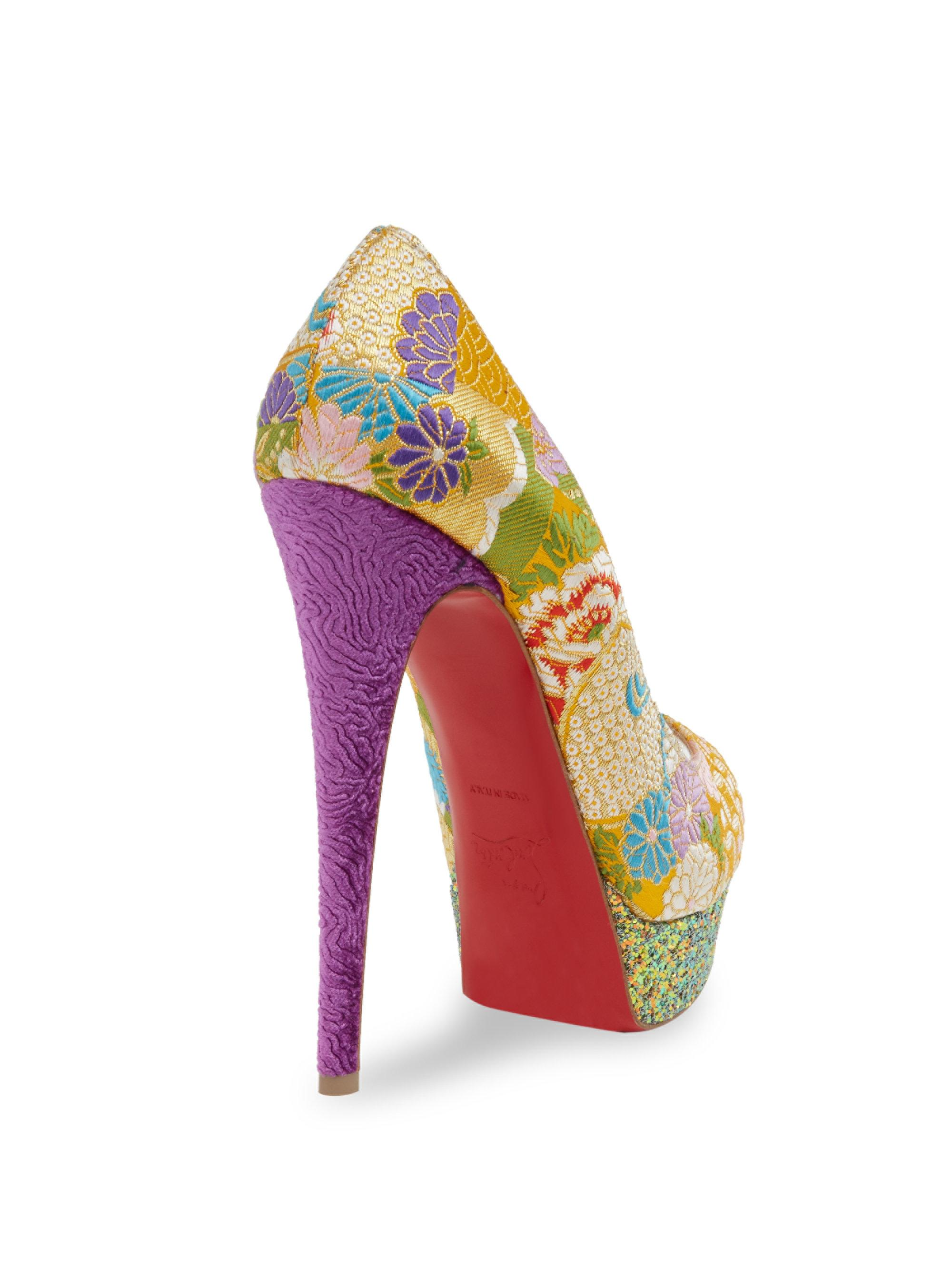 fb6f3b99190 Lyst - Christian Louboutin Classique Lady Peep 150 Floral   Glitter ...