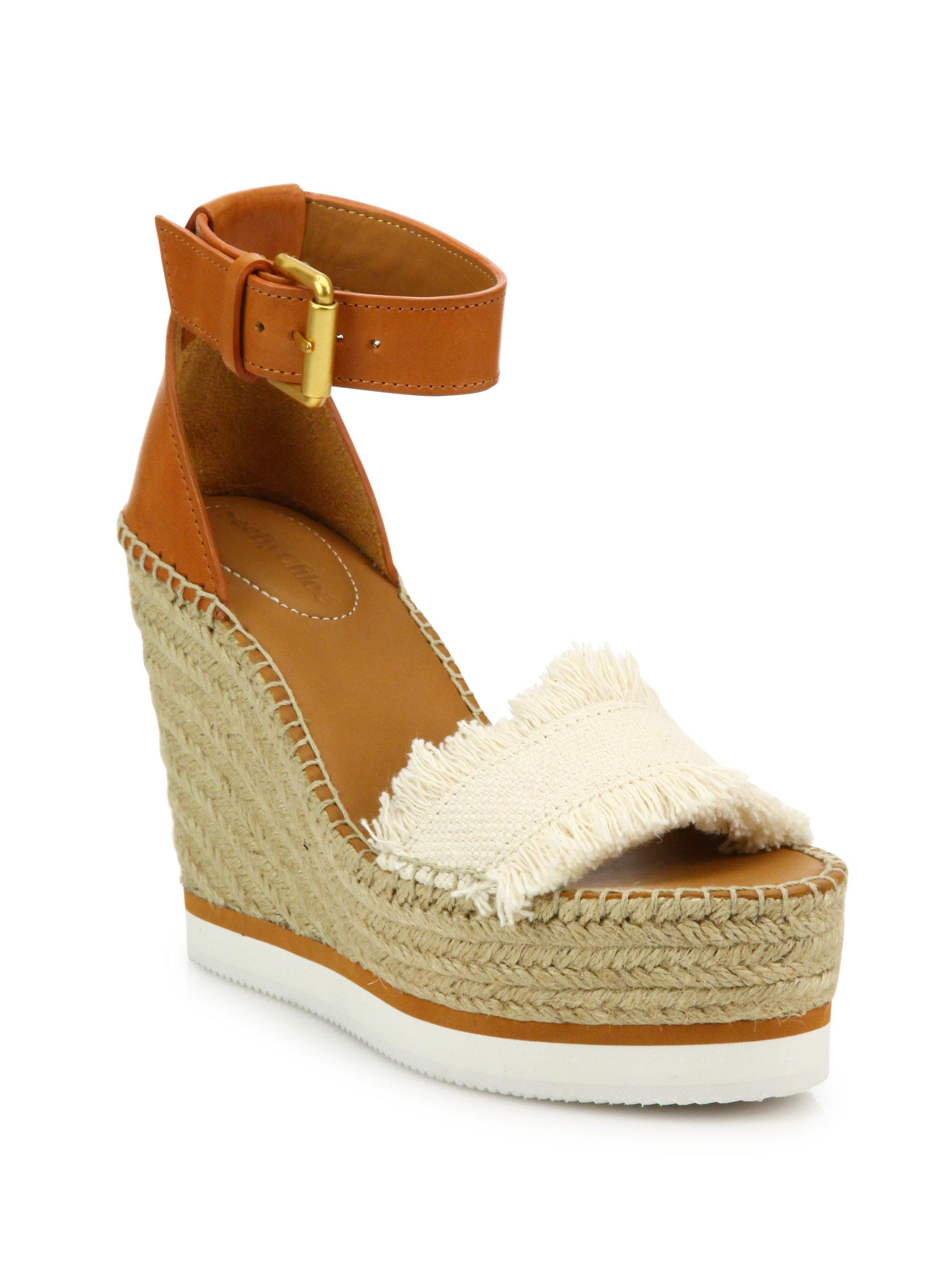 Leather and canvas wedge sandals See By Chlo�� tcgiP5AFJ