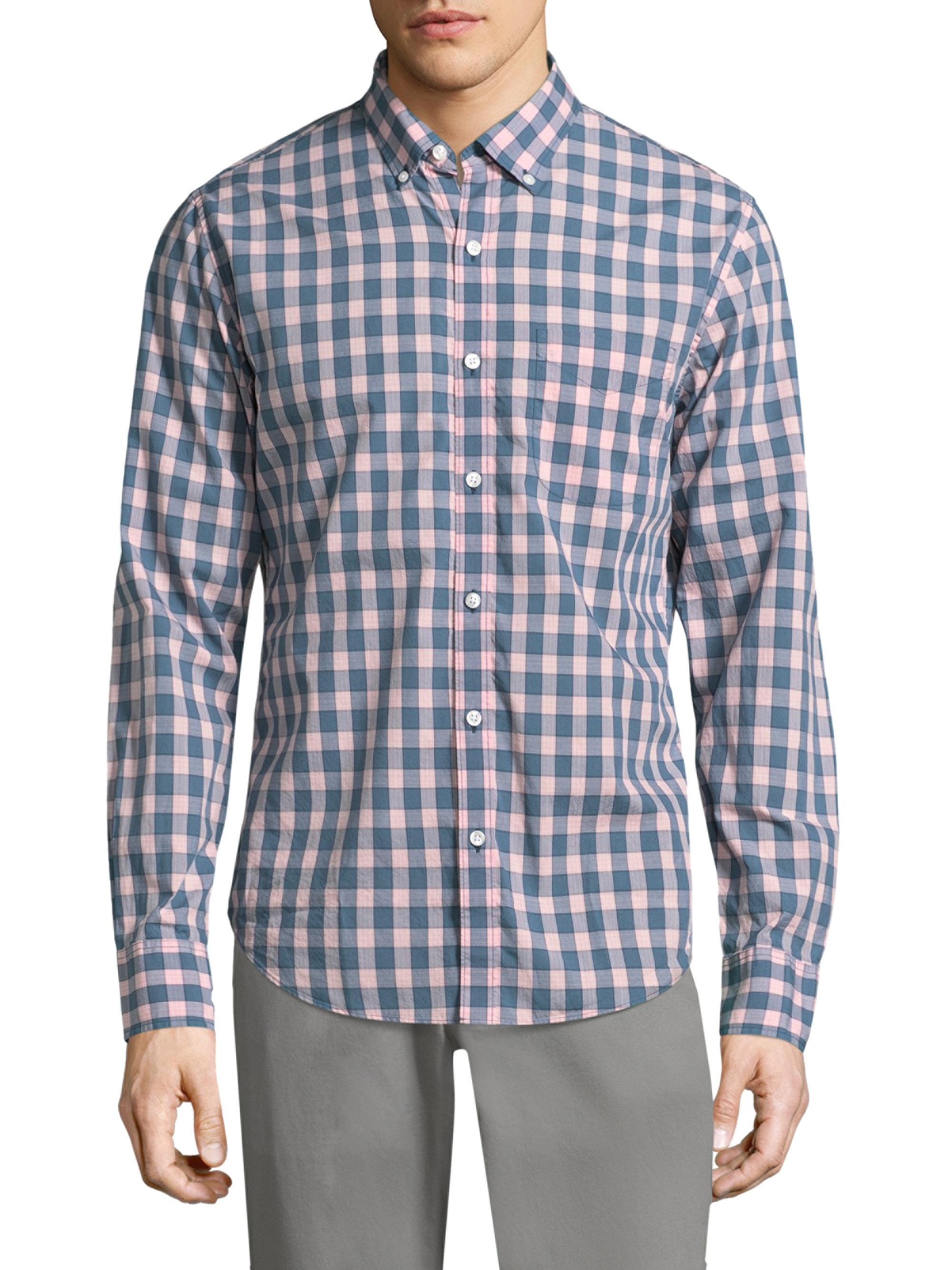 Lyst bonobos summerweight checkered cotton button down for Cotton button down shirts men