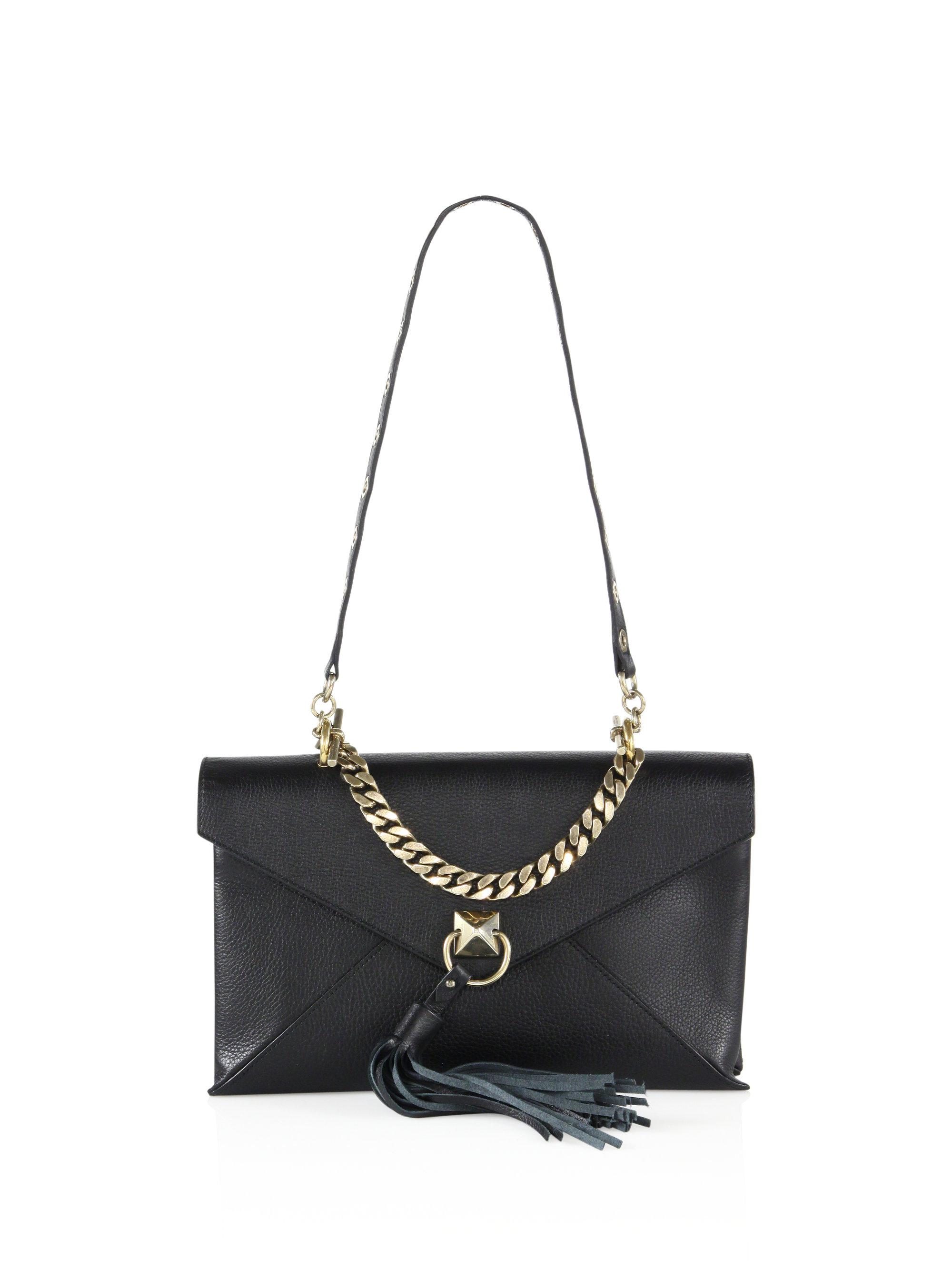 Sonia Rykiel Pyramid Leather Envelope Clutch in Black - Lyst 490d16f082237
