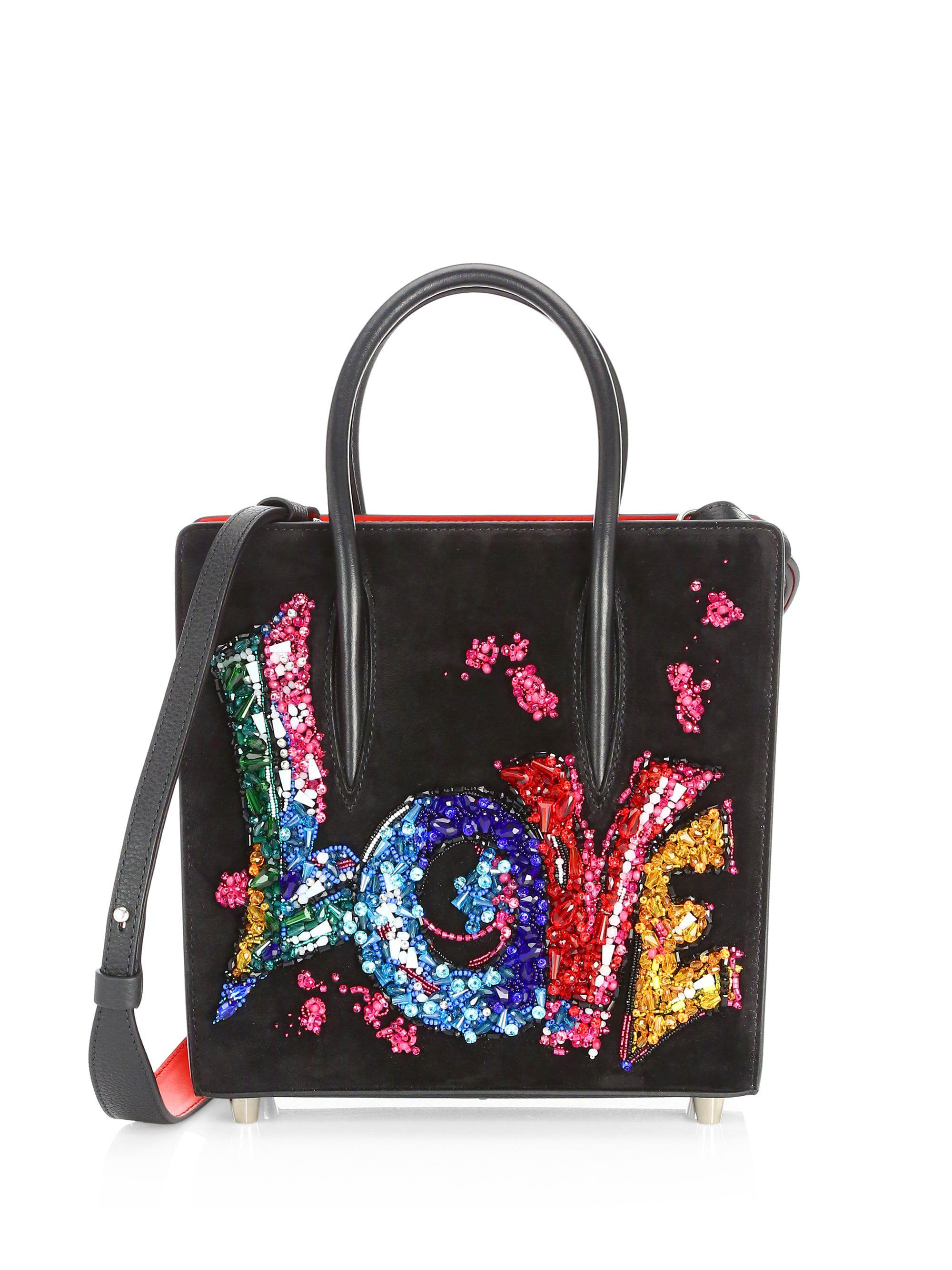 0ff194ba585 Christian Louboutin Paloma Suede Embroidered Love Shoulder Bag in ...
